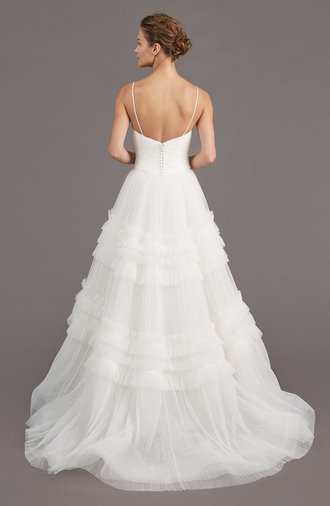 Alternate Image 2  - Amsale Saylor Ruffle A-Line Gown