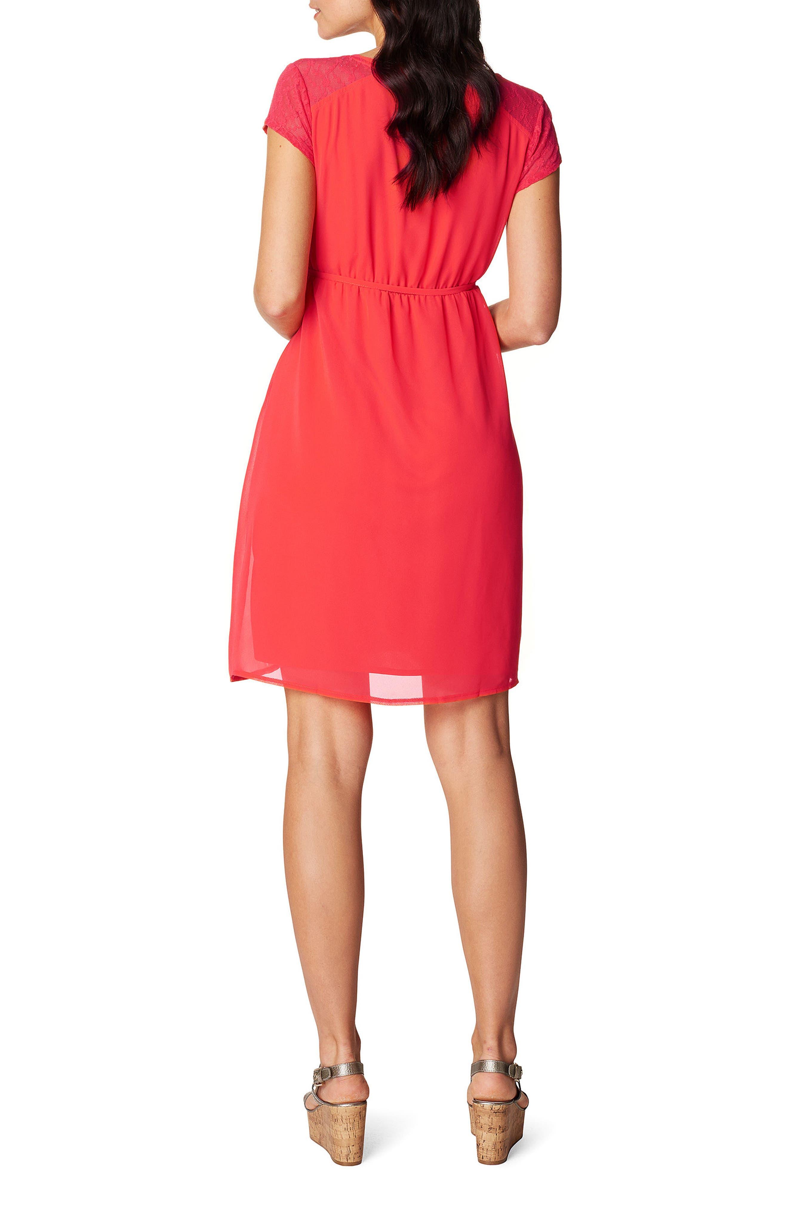 Noelle Maternity Dress,                             Alternate thumbnail 2, color,                             Red