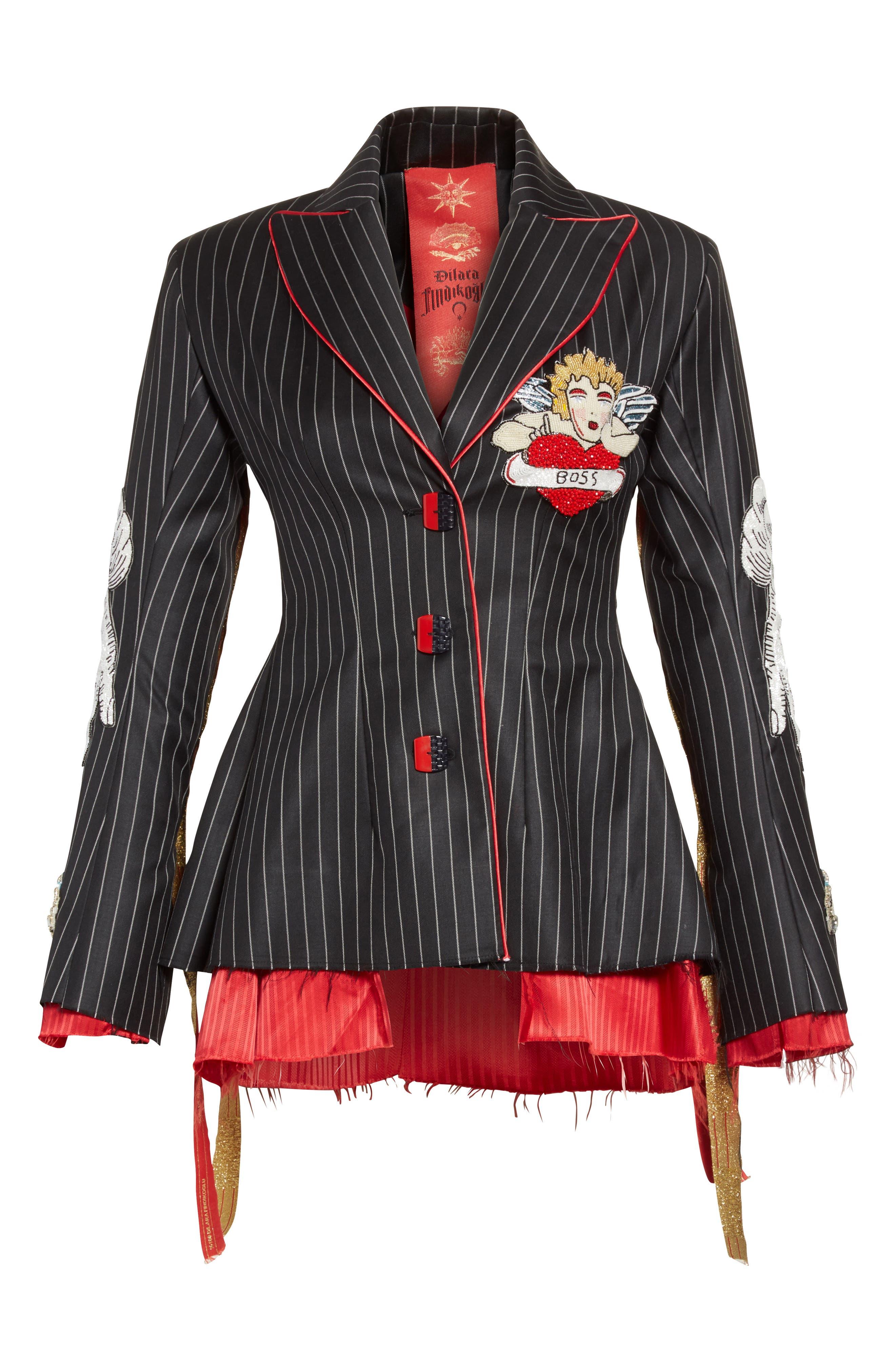 Alternate Image 4  - Dilara Findikoglu Embellished Pinstripe Suit Jacket