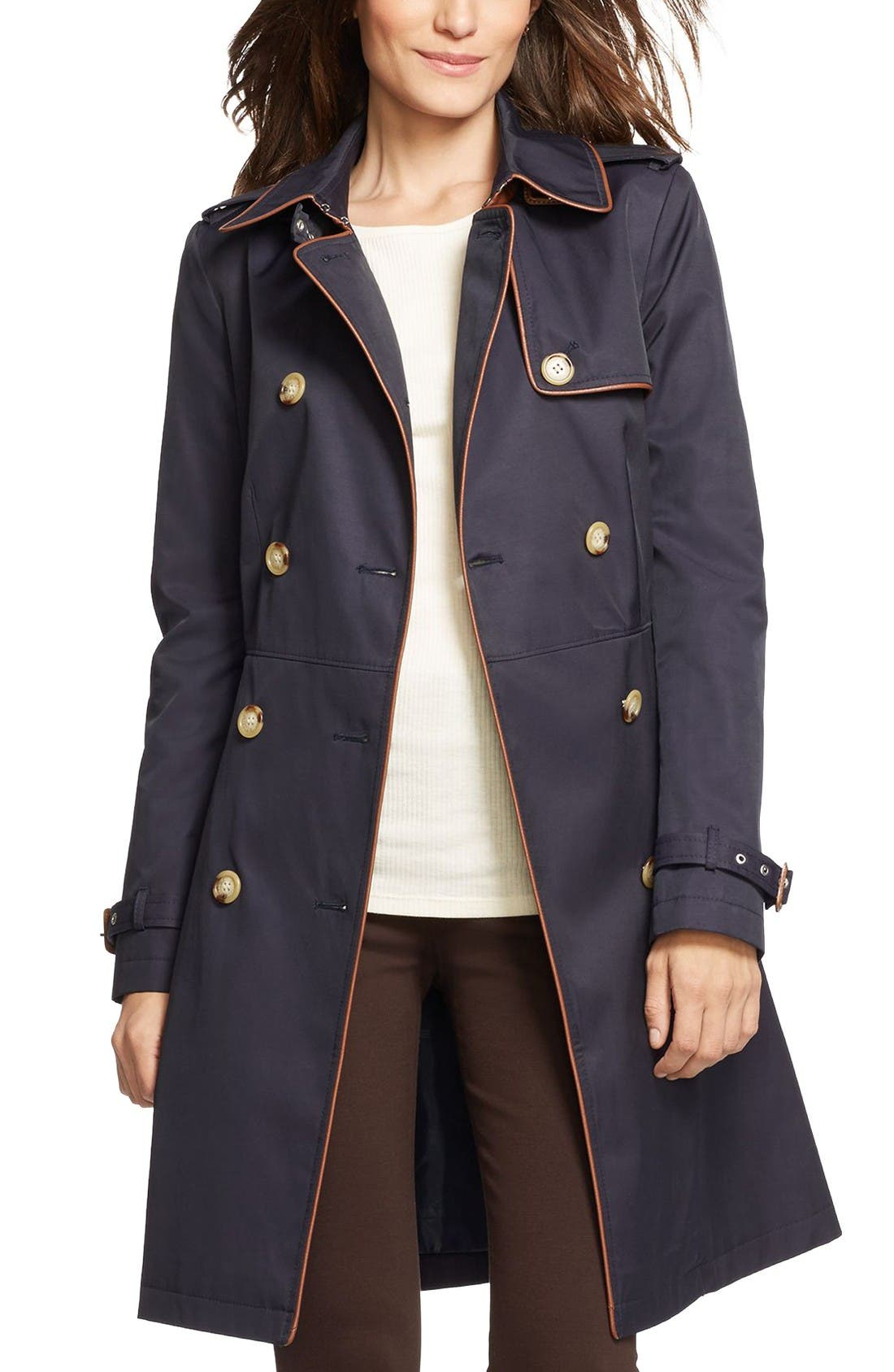 Lauren Ralph Lauren Faux Leather Trim Trench Coat (Regular ...