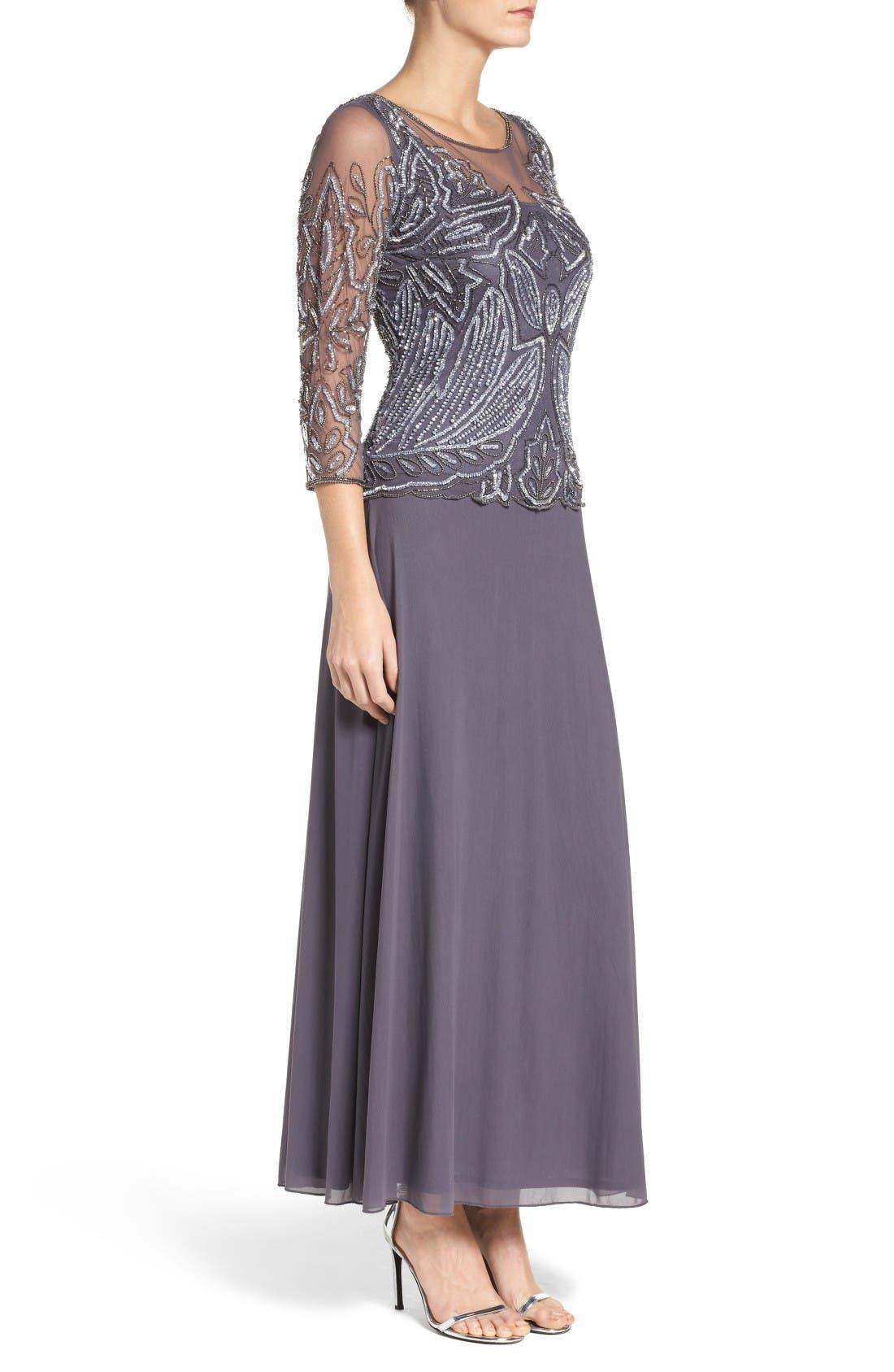 Embellished Mesh Gown,                             Alternate thumbnail 3, color,                             Slate