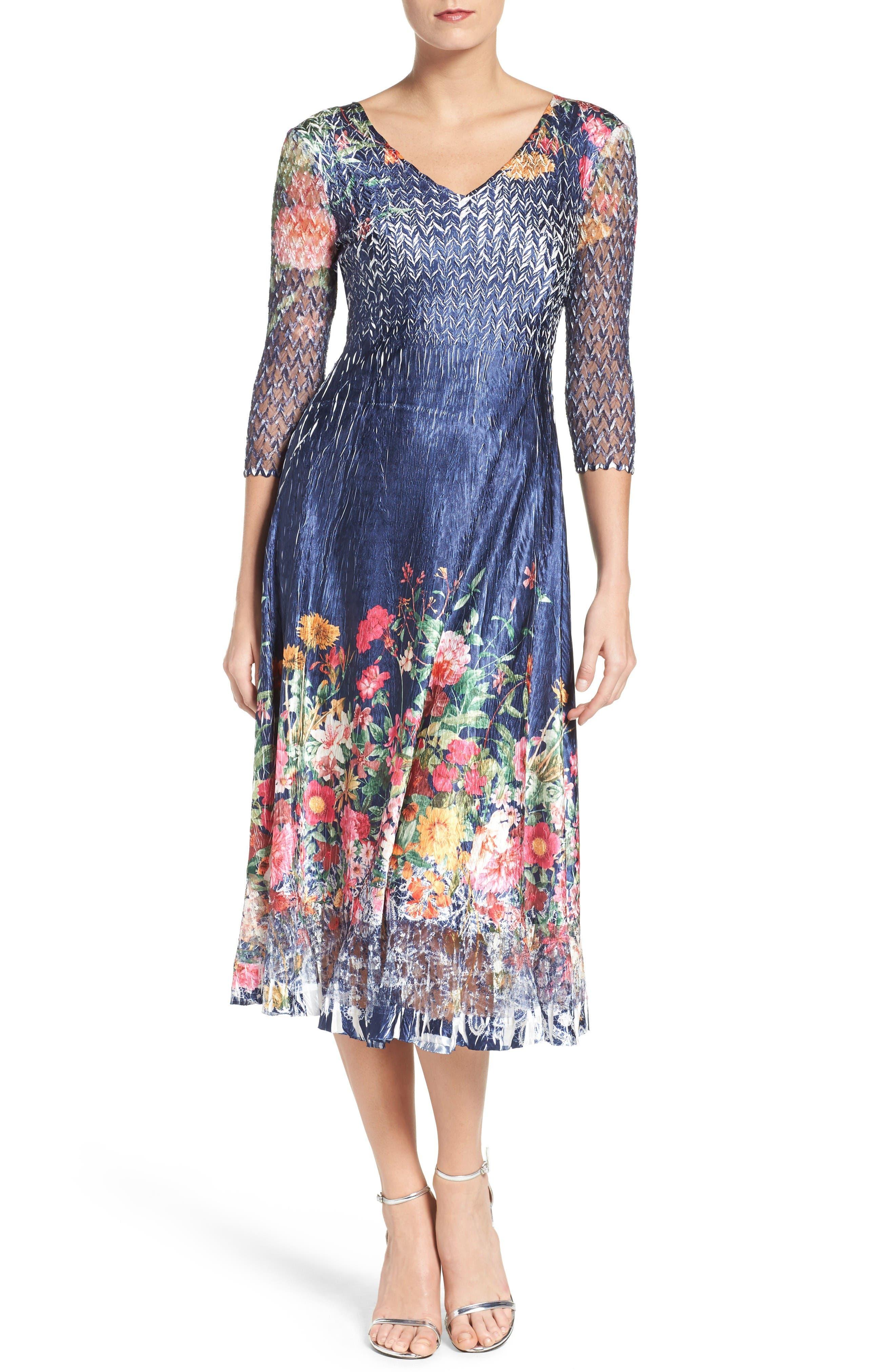 Floral Print A-Line Dress,                         Main,                         color, Sapphire M