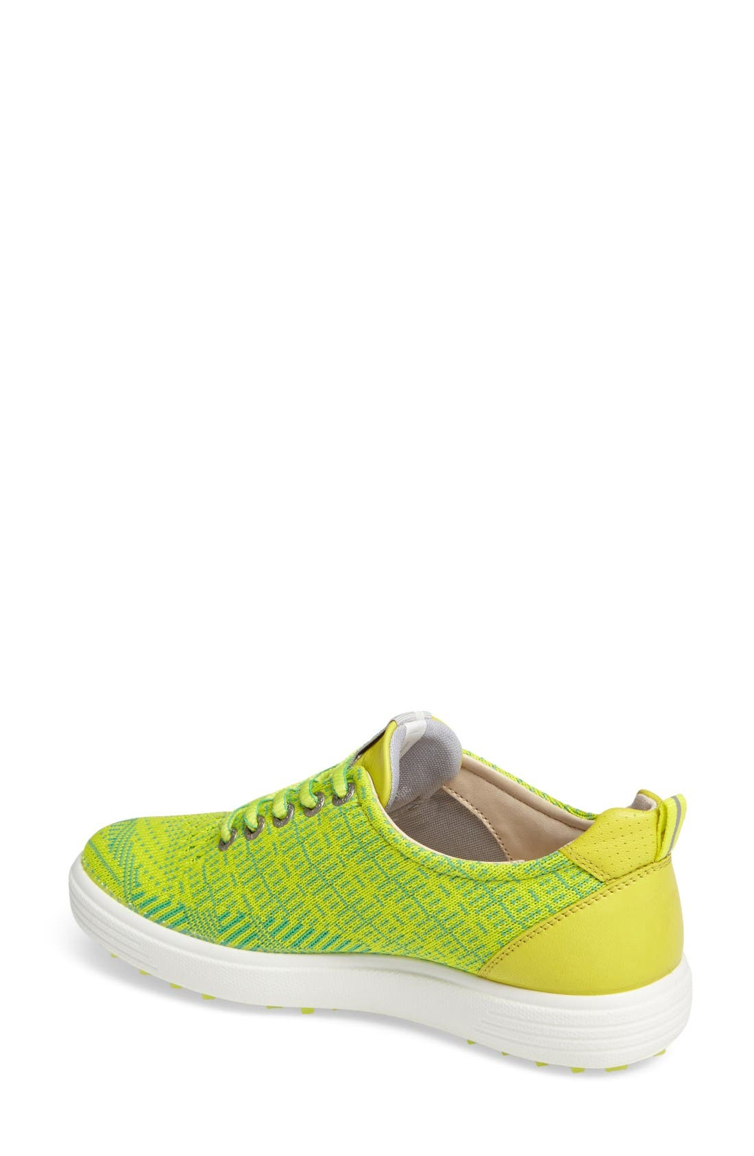 Casual Hybrid Knit Golf Sneaker,                             Alternate thumbnail 2, color,                             Lime Punch/ Neon Leather