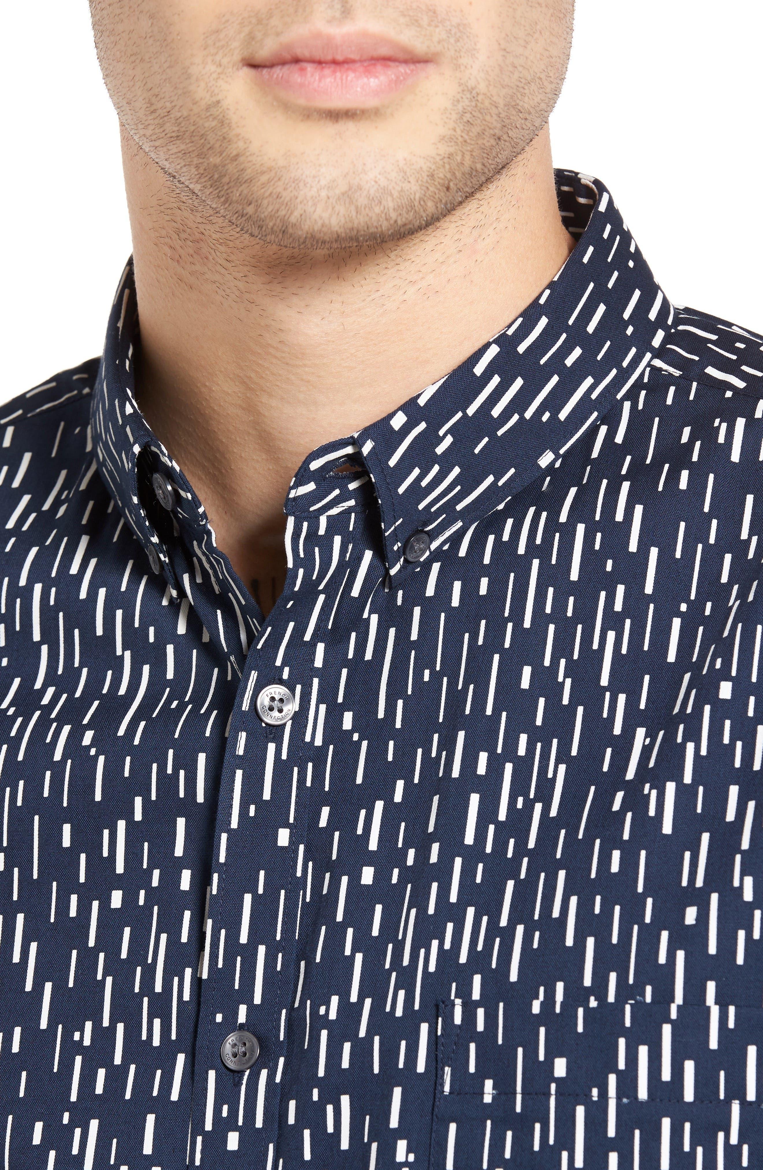 Rain Dash Slim Fit Oxford Shirt,                             Alternate thumbnail 4, color,                             Marine Blue/ White
