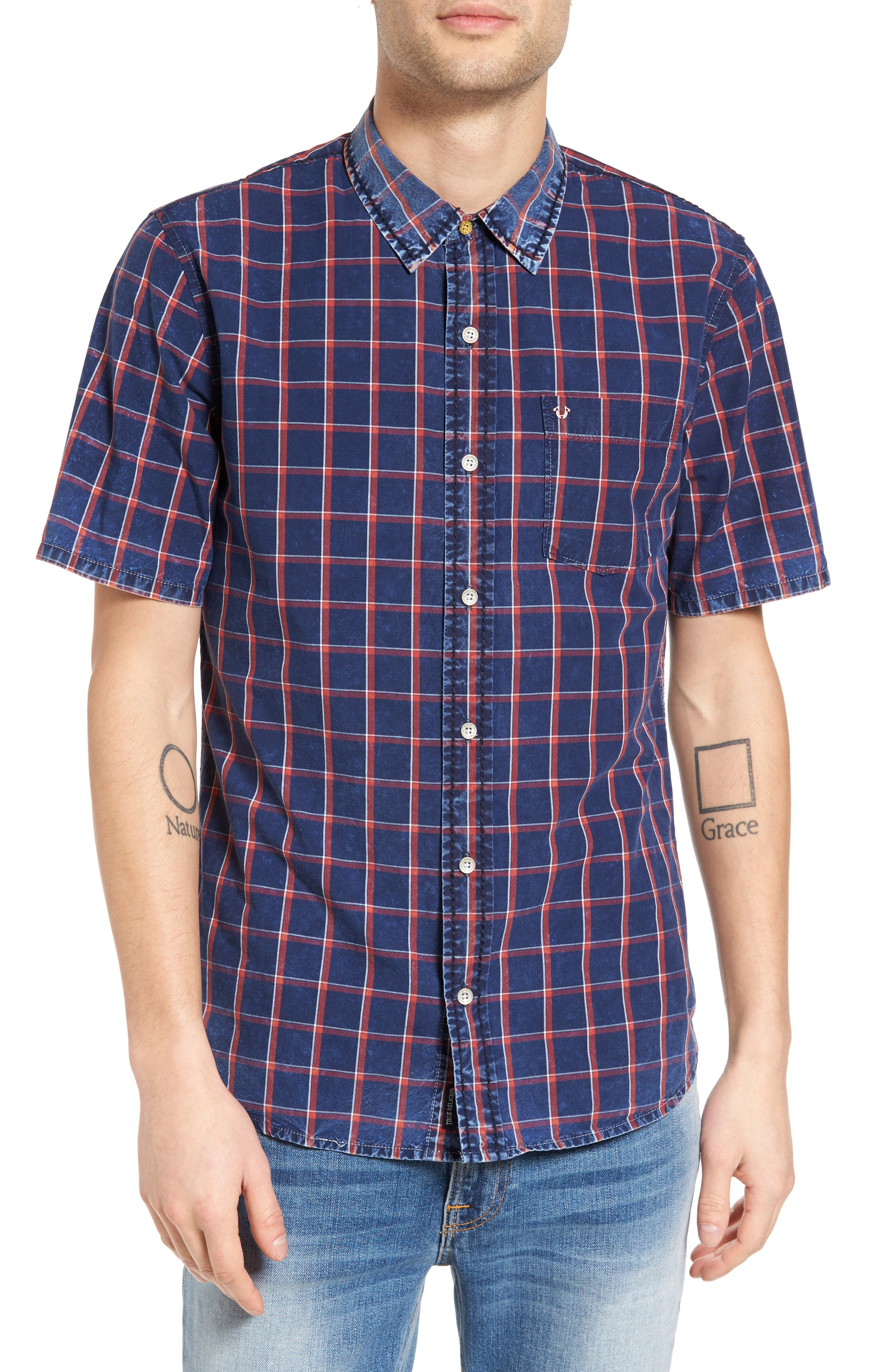 Alternate Image 1 Selected - True Religion Brand Jeans Plaid Shirt