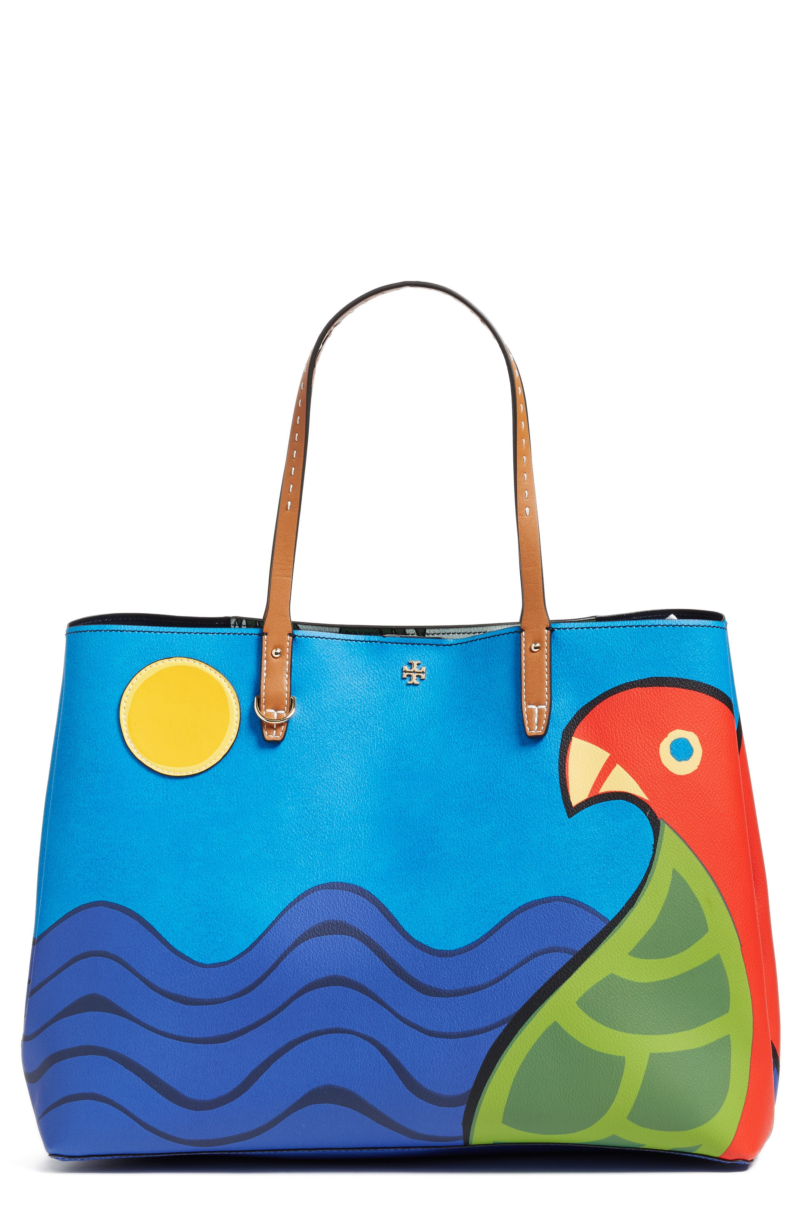 Main Image - Tory Burch Kerrington Parrot Coated Canvas Tote