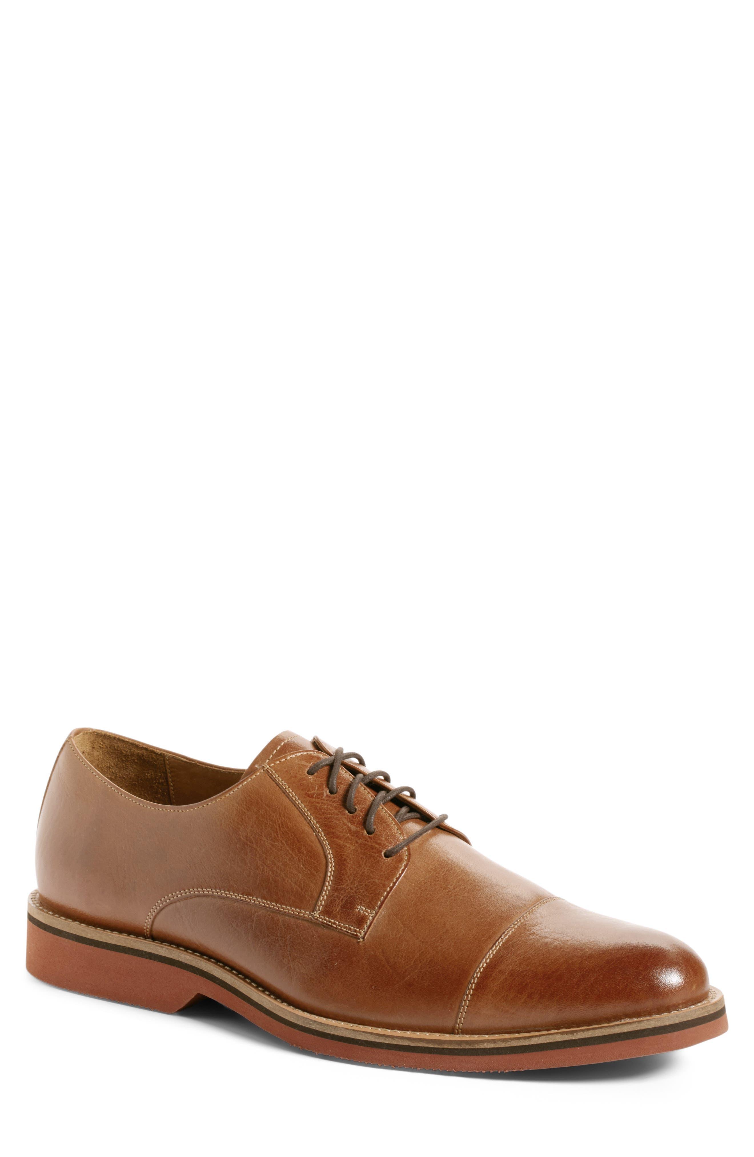 Poulsbo Cap Toe Derby,                             Main thumbnail 1, color,                             Tan Leather