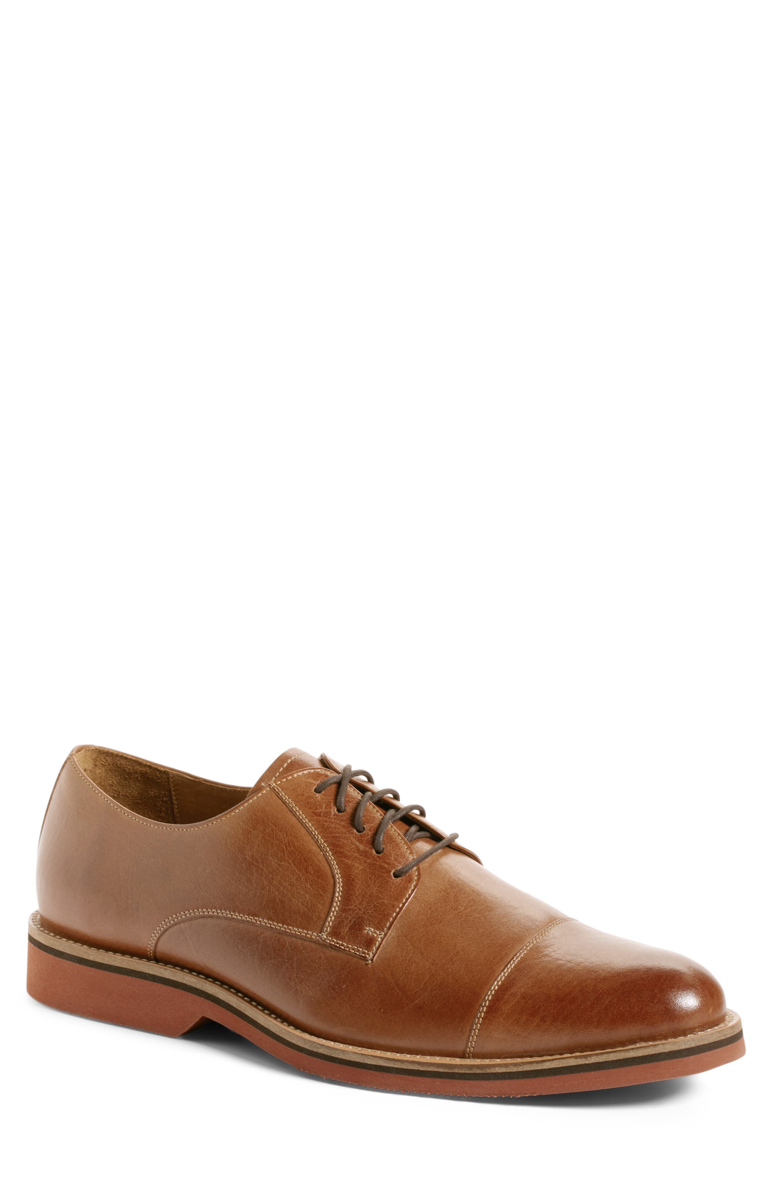 Poulsbo Cap Toe Derby,                         Main,                         color, Tan Leather