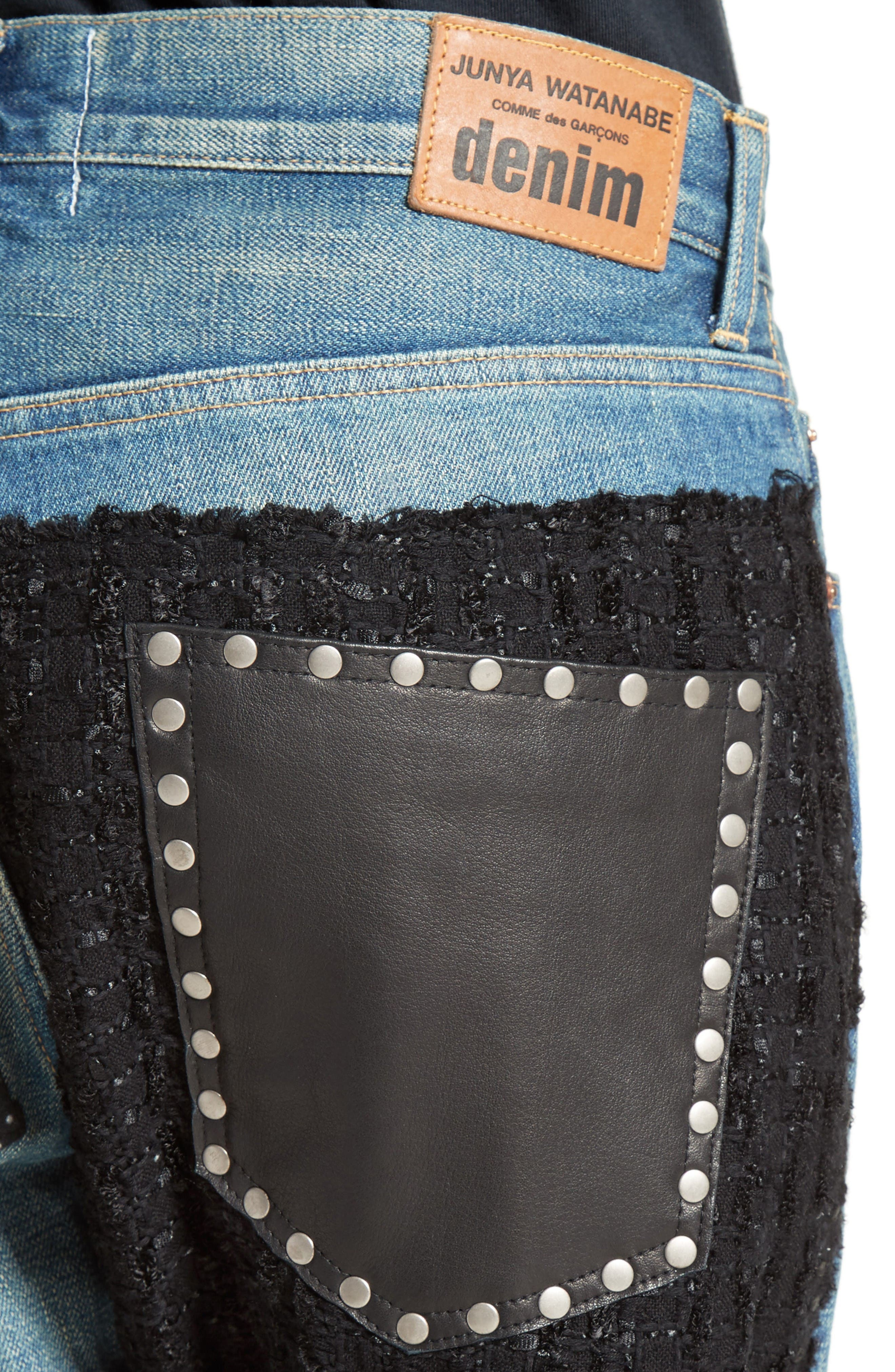 Patchwork Boyfriend Jeans,                             Alternate thumbnail 6, color,                             Indigo Black