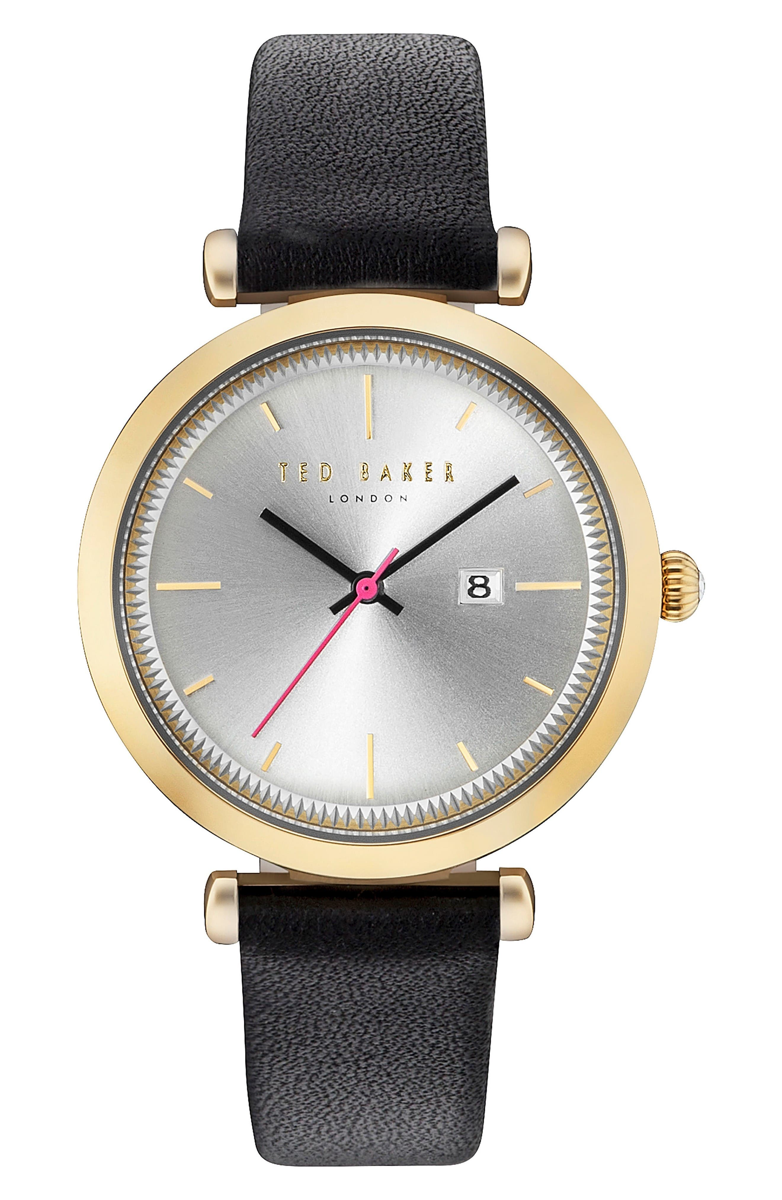 Ava Leather Strap Watch, 36mm,                         Main,                         color, Black/ White/ Gold