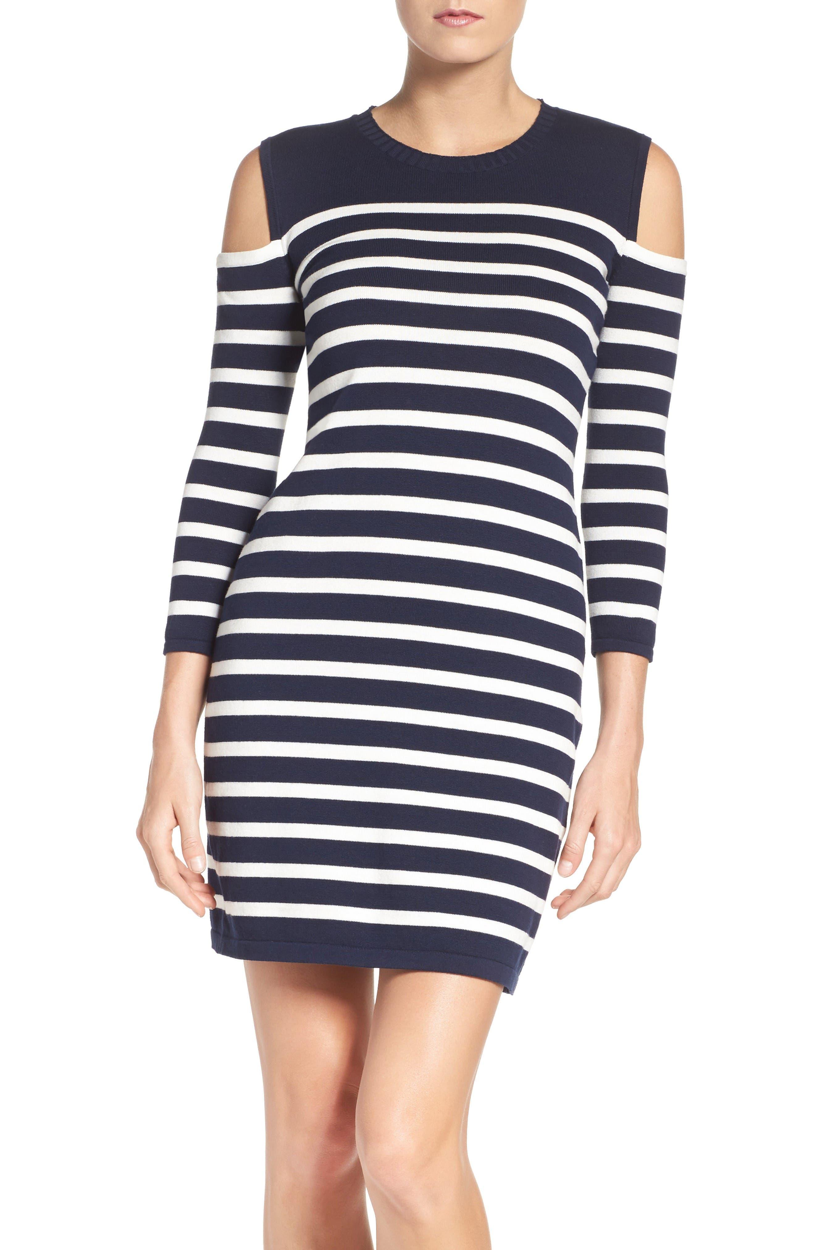 Trina Turk Tango Stripe Cotton Knit Dress,                             Main thumbnail 1, color,                             Whitewash/ Indigo