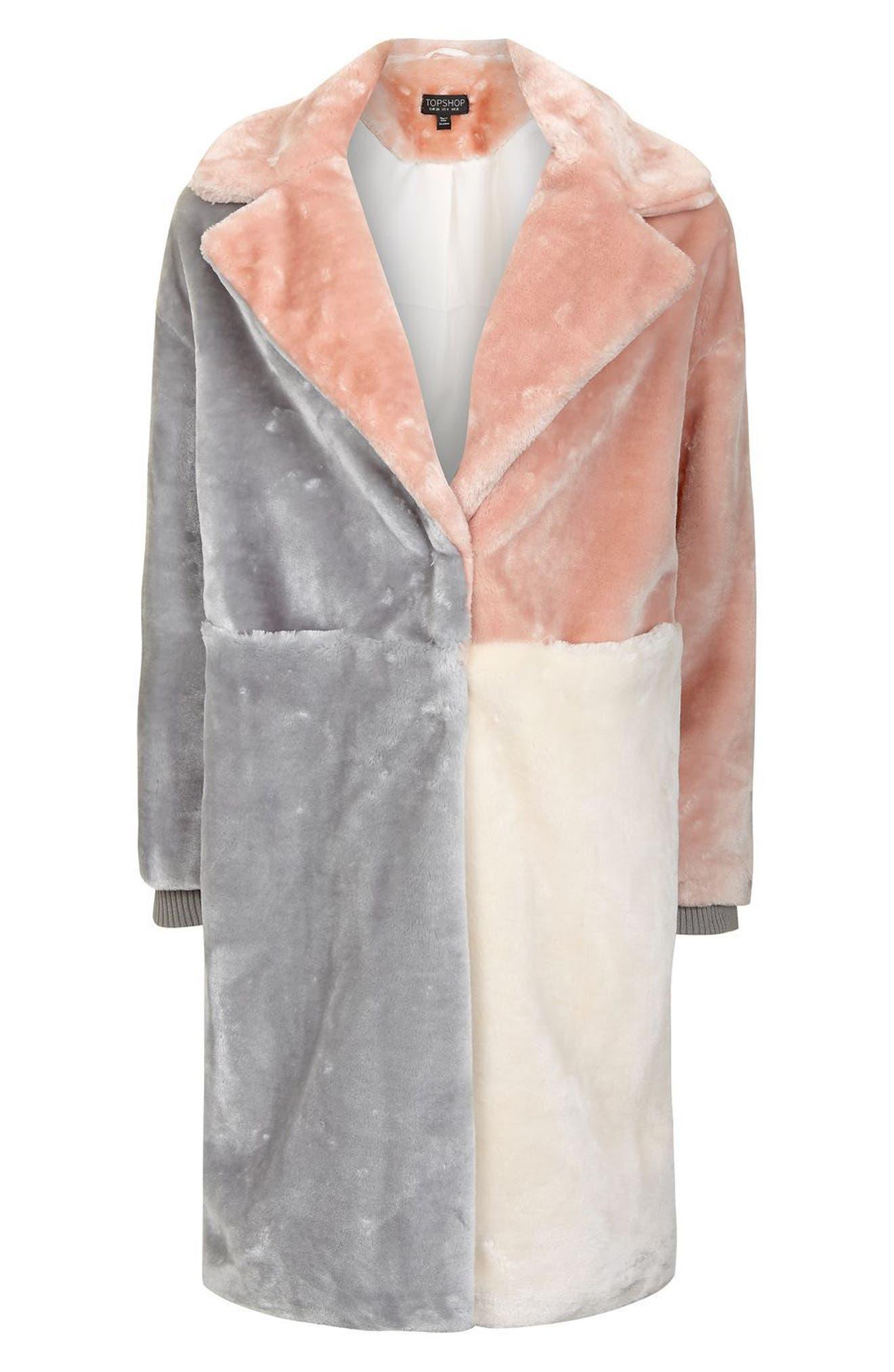Alternate Image 4  - Topshop Patchwork Faux Fur Coat