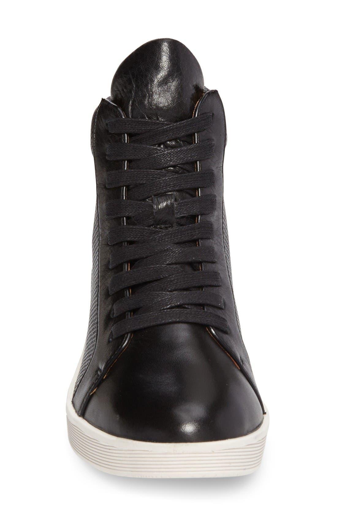 Helka High Top Sneaker,                             Alternate thumbnail 3, color,                             Black Leather