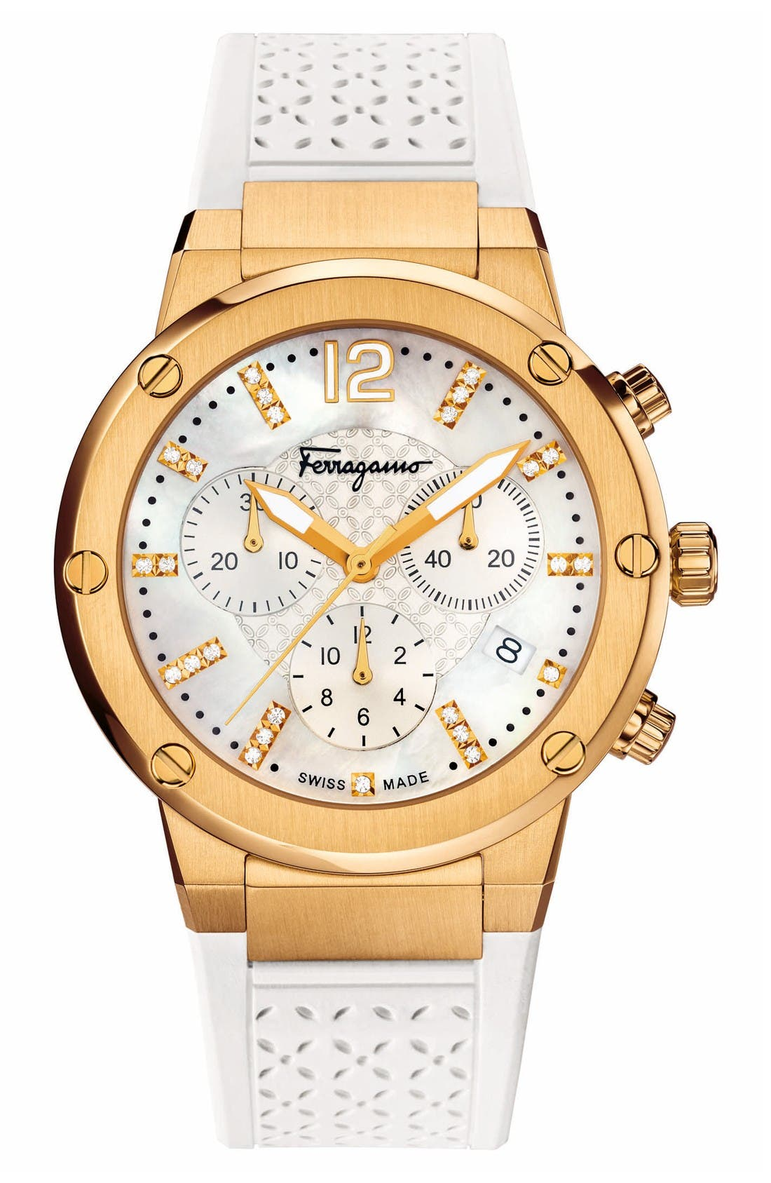 Salvatore Ferragamo F80 Chronograph Rubber Strap Watch, 39mm