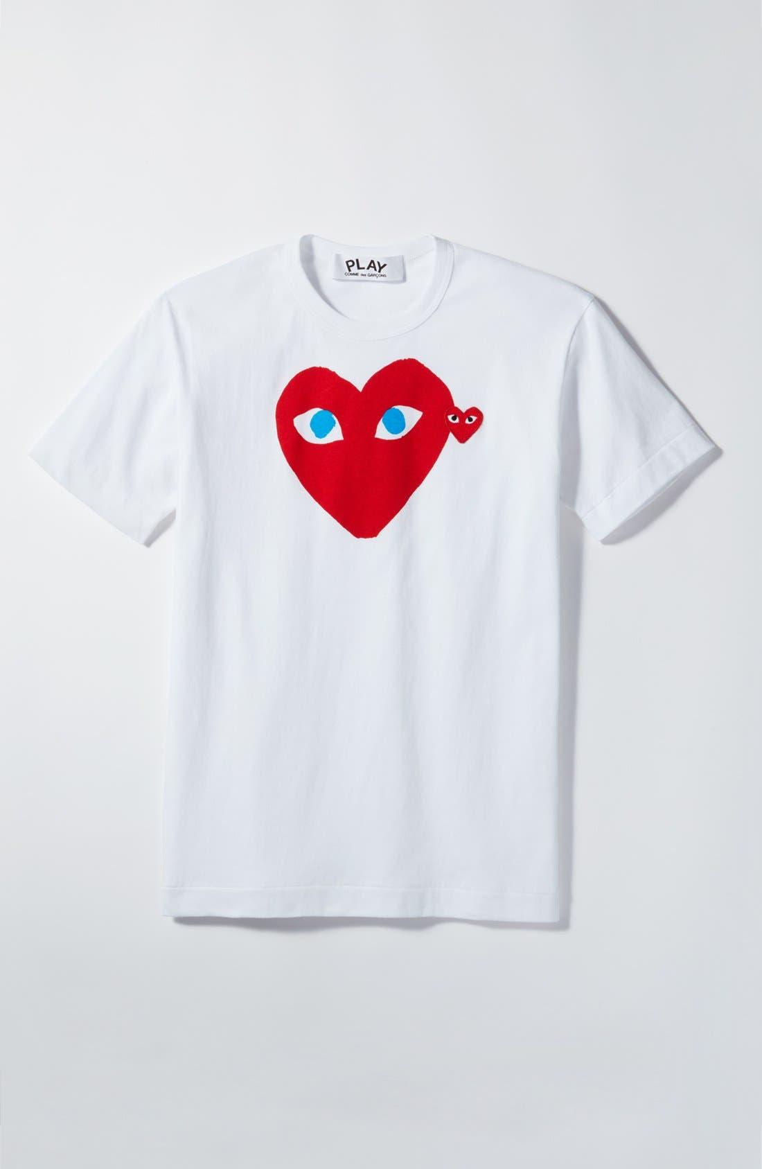 Comme des Garçons PLAY Heart Face Graphic T-Shirt,                             Alternate thumbnail 6, color,                             White