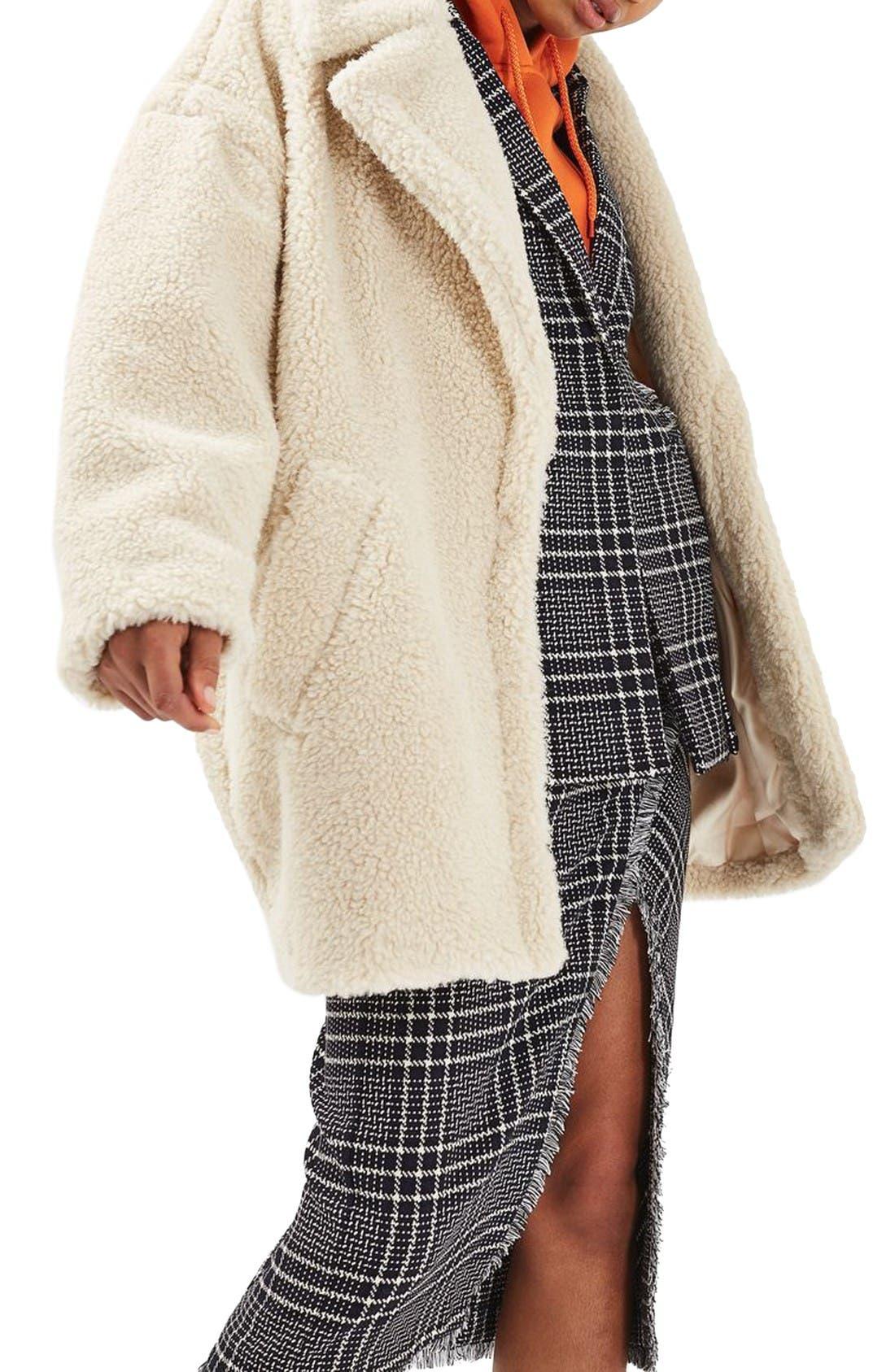 Borg Cocoon Coat,                         Main,                         color, Cream