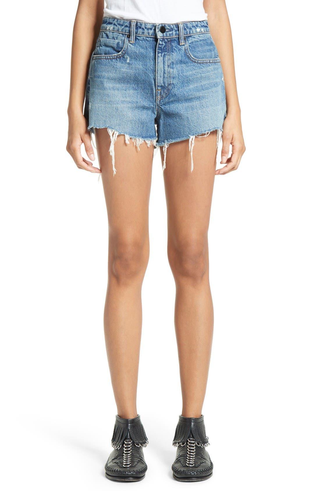 Denim x Alexander Wang High Waist Frayed Denim Shorts (Light Indigo Aged)