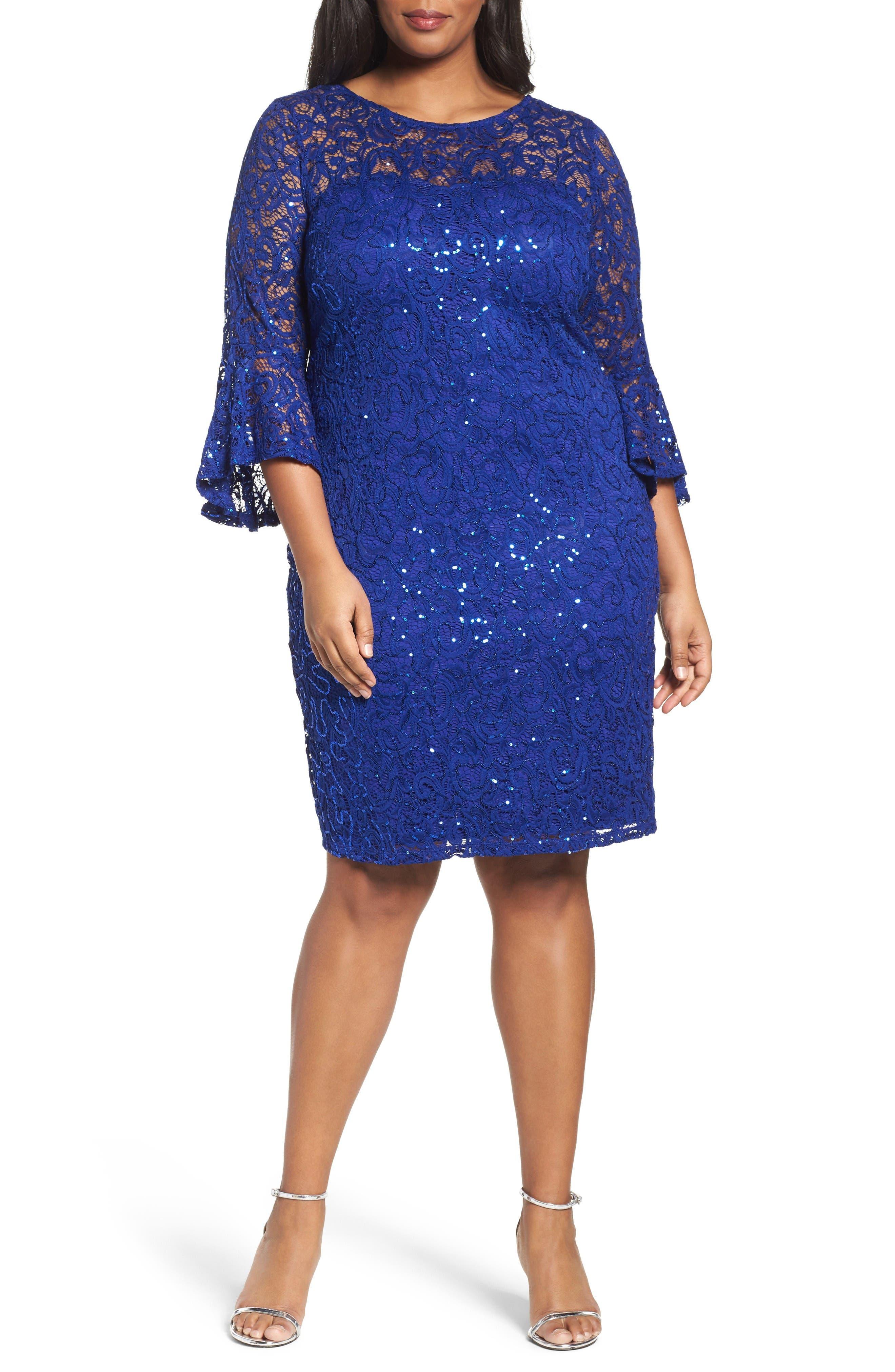 Sequin Lace Bell Sleeve Dress,                         Main,                         color, Cobalt