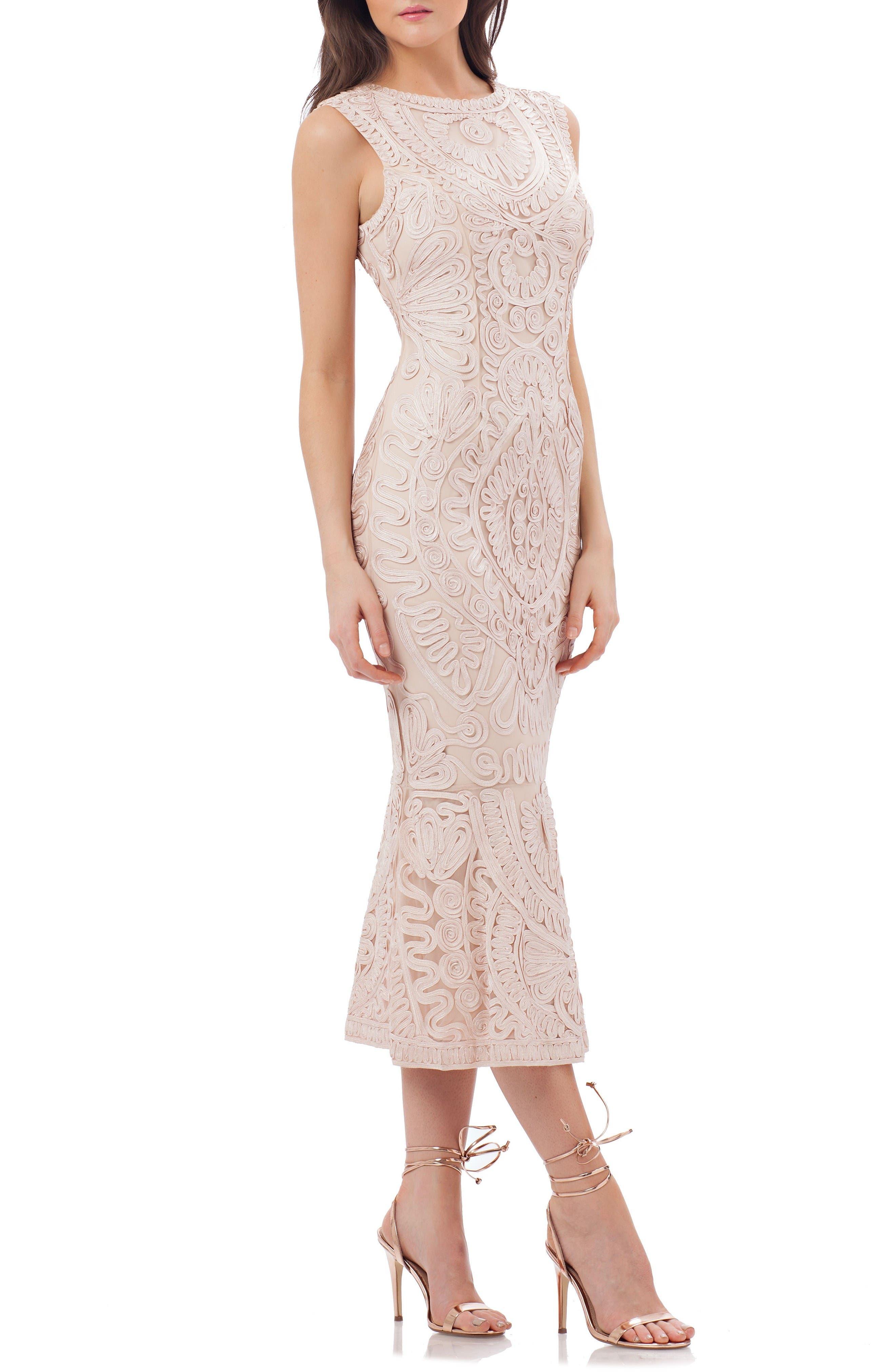 Soutache Mesh Dress,                         Main,                         color, Blush