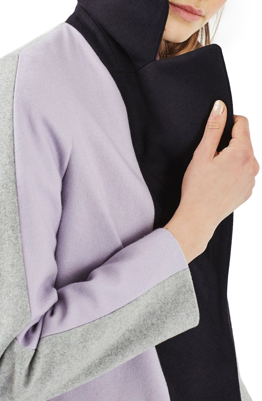 Alternate Image 5  - Topshop Colorblock Wool Blend Coat