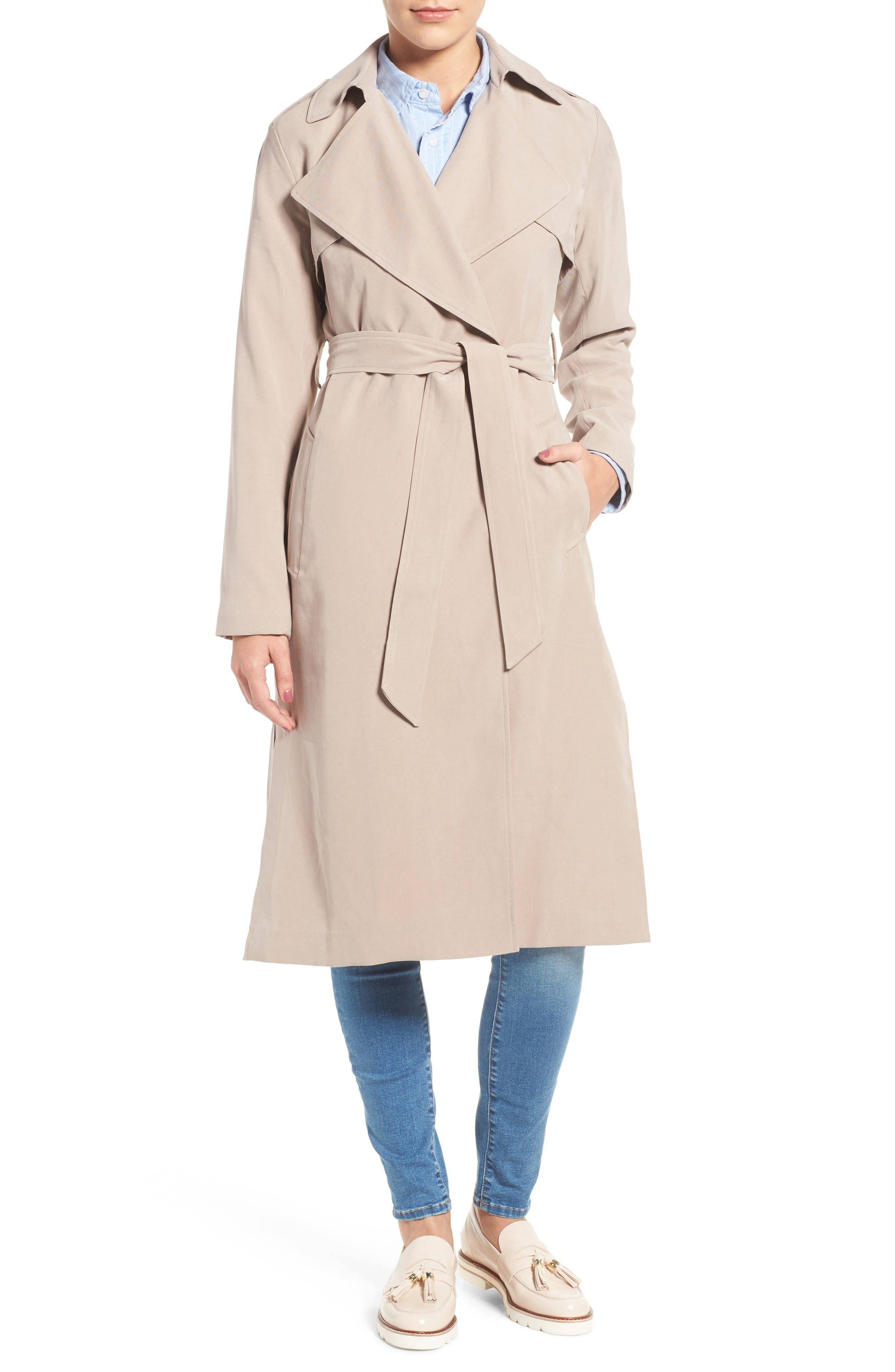 Alternate Image 1 Selected - Cole Haan Signature Long Drapey Trench Coat