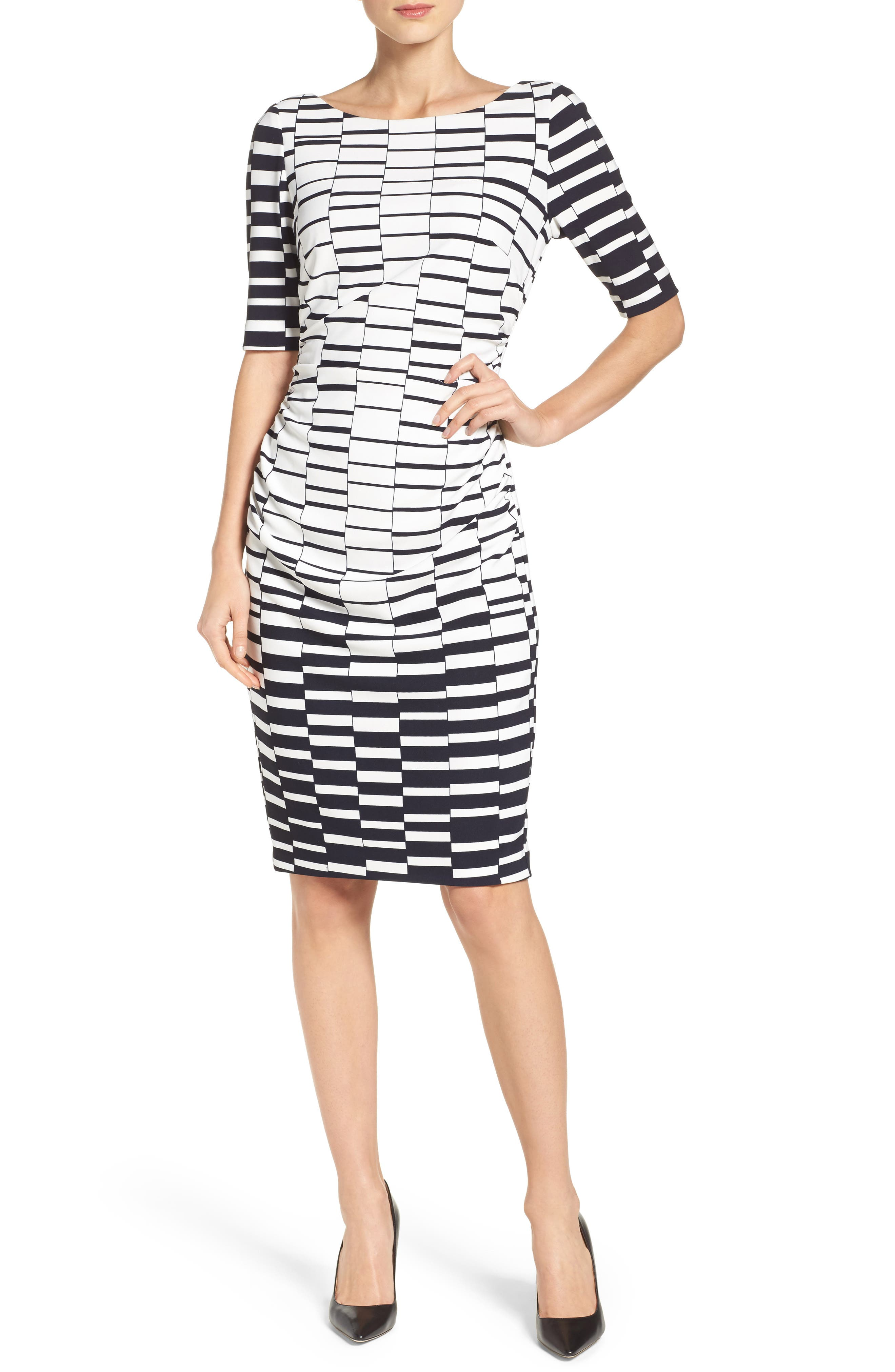 Ruched Body-Con Dress,                         Main,                         color, Navy/ Ivory