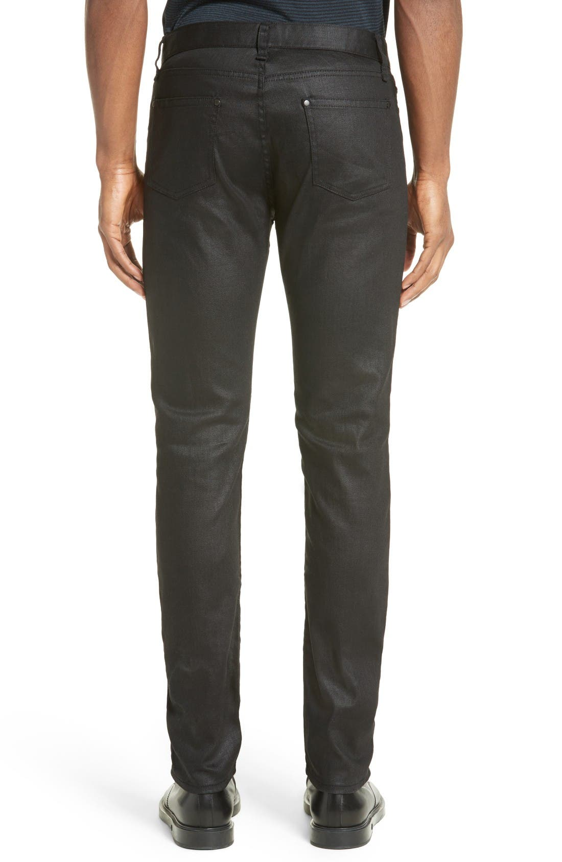 Alternate Image 2  - John Varvatos Collection Skinny Fit Coated Jeans (Black)