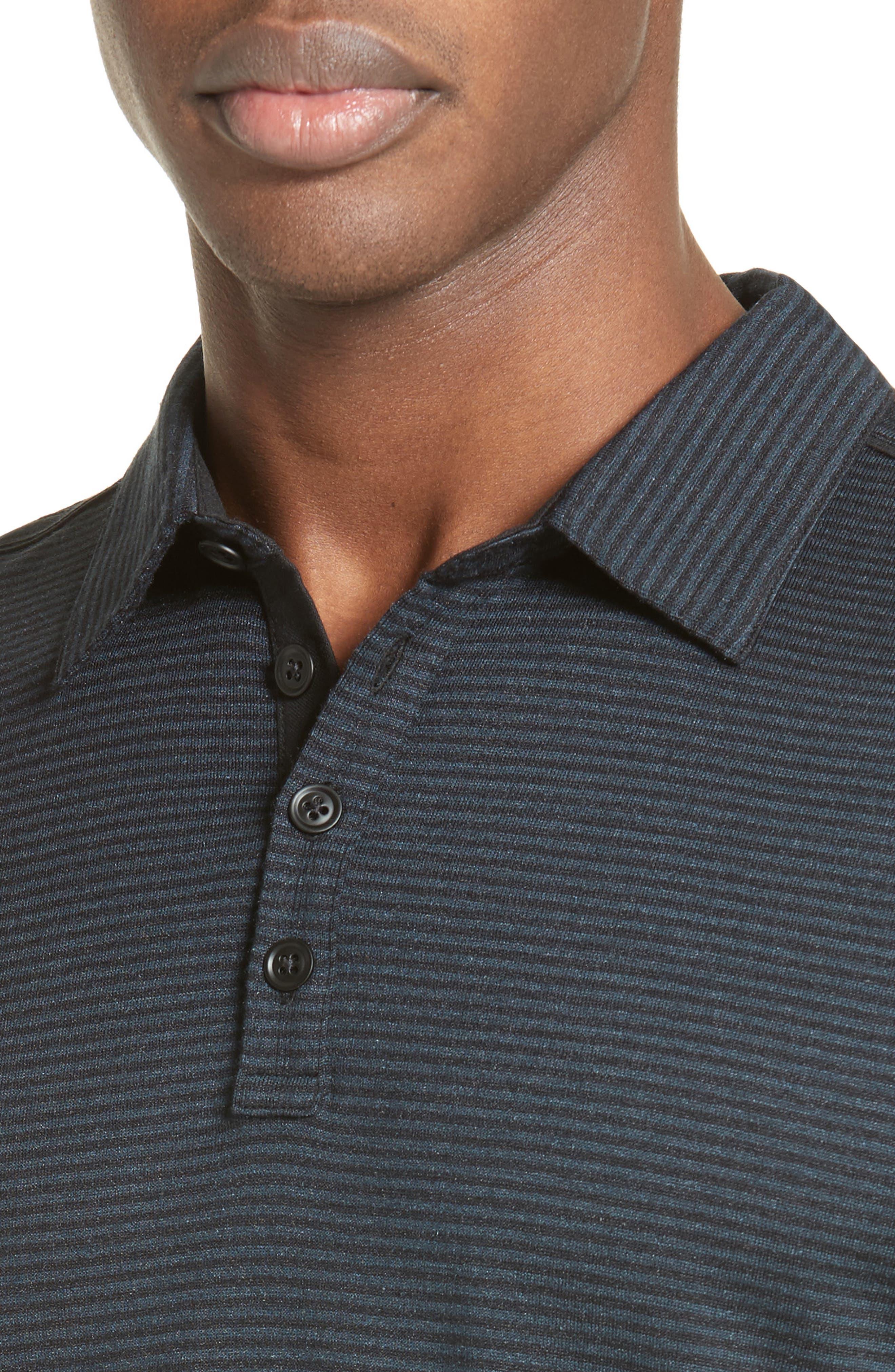 Alternate Image 4  - John Varvatos Collection 'Hampton' Stripe Silk & Cotton Polo