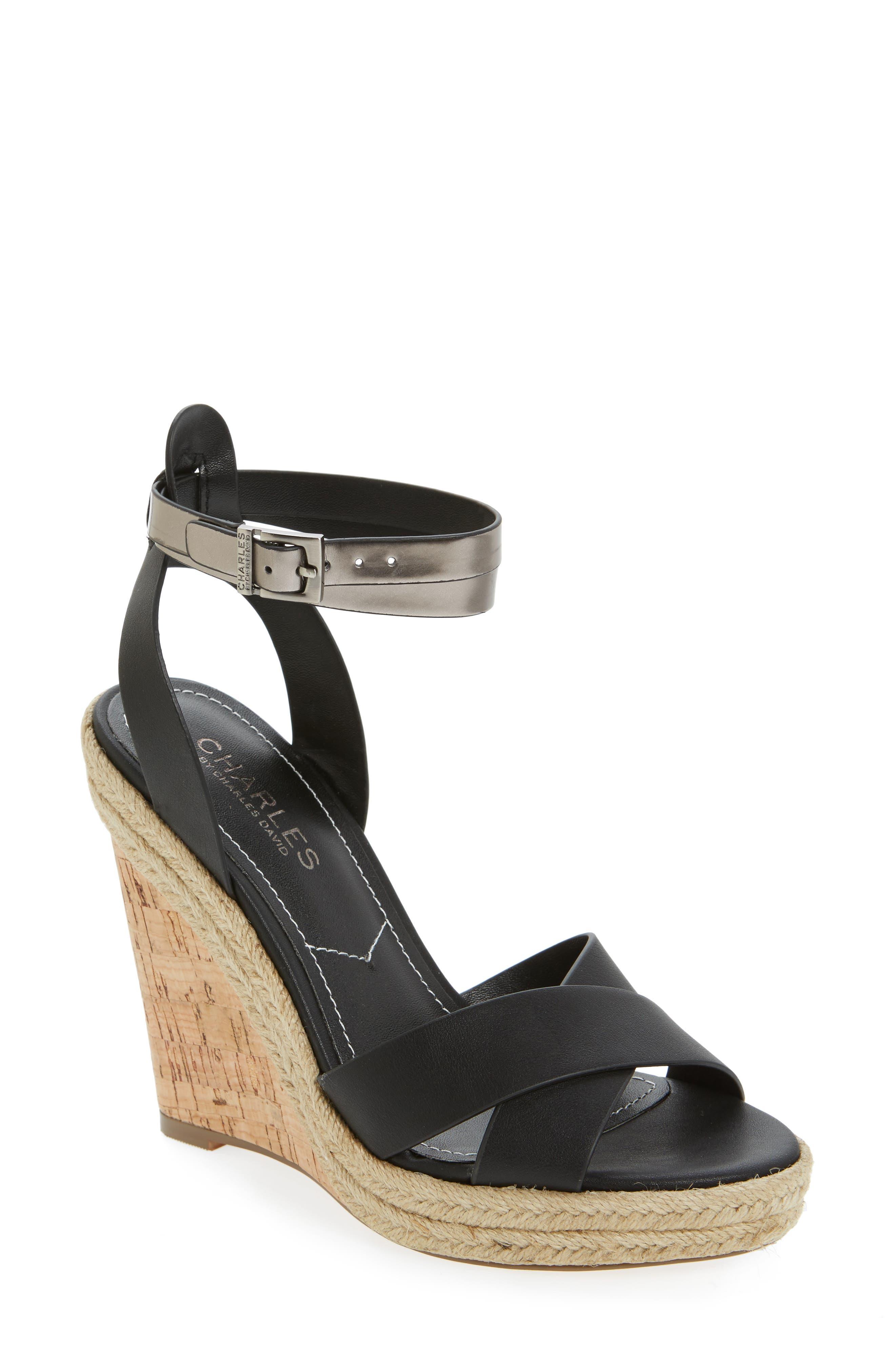 Brit Wedge Platform Sandal,                             Main thumbnail 1, color,                             Black/ Gunmetal