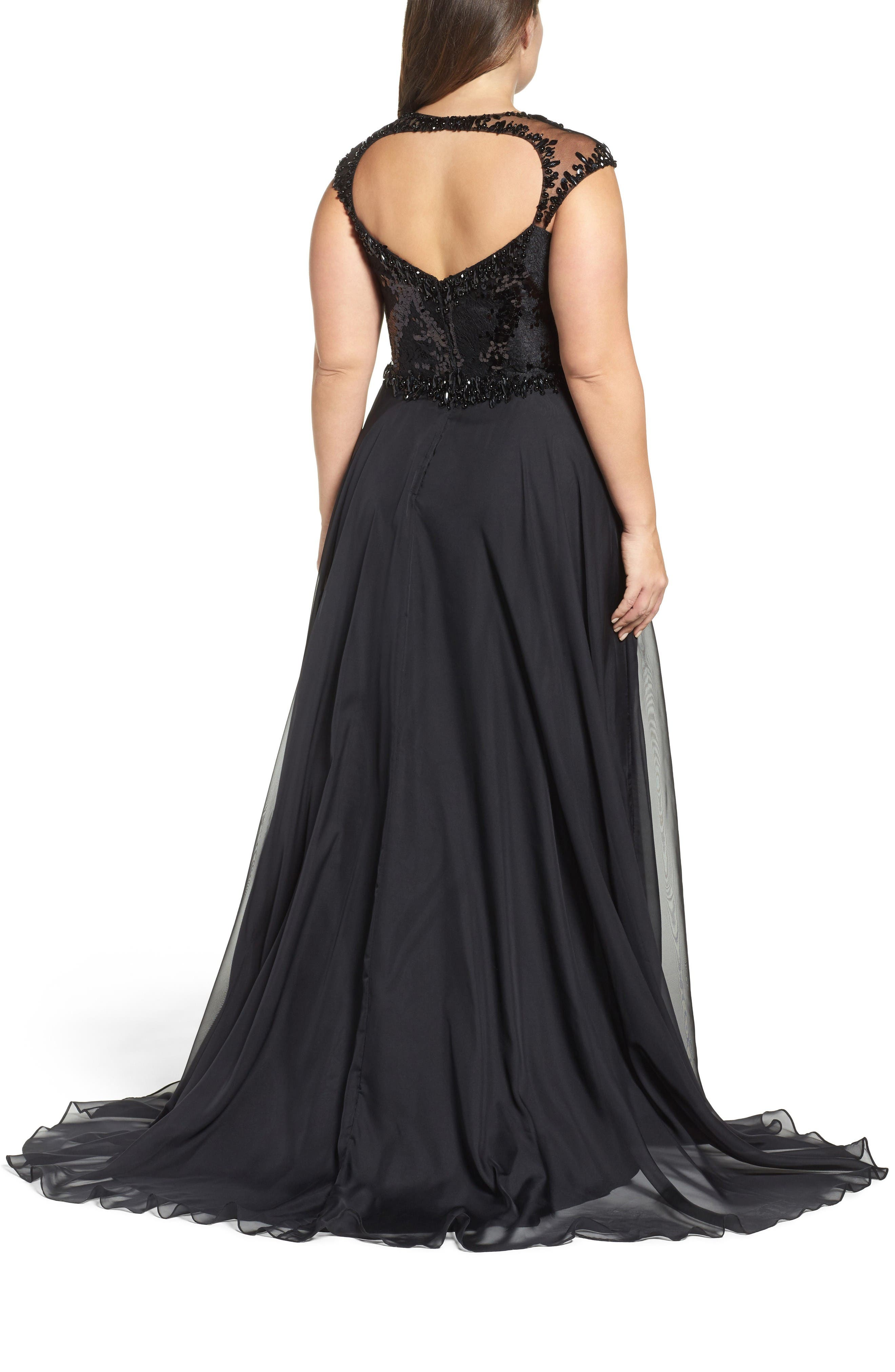 Beaded Lace Bodice Gown,                             Alternate thumbnail 2, color,                             Black