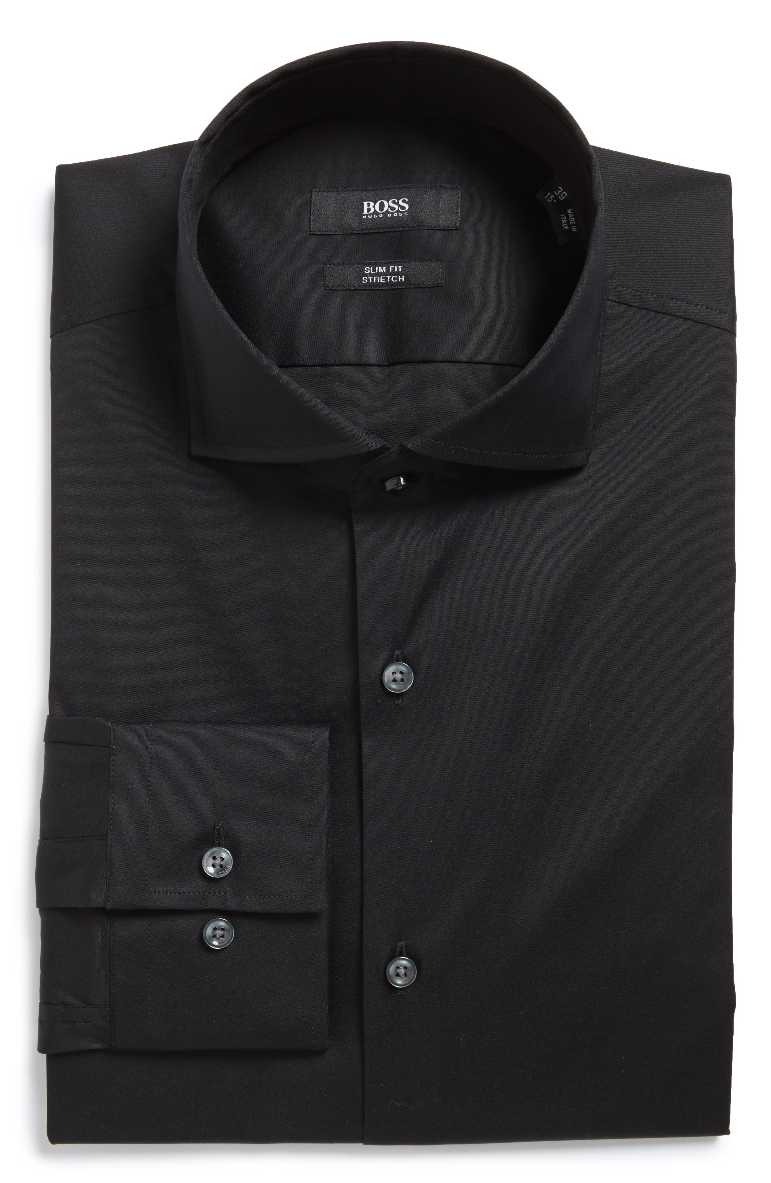 'Jason' Slim Fit Solid Stretch Dress Shirt,                             Main thumbnail 1, color,                             Black
