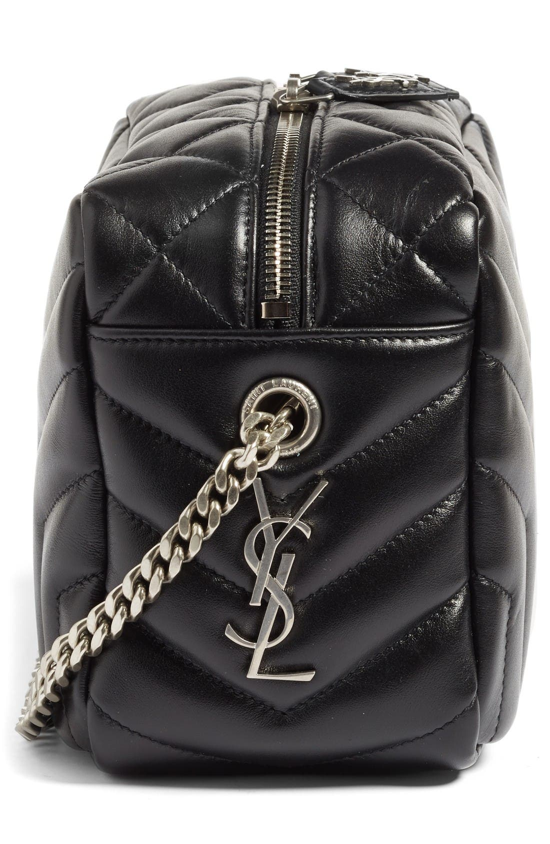Small LouLou Leather Bowling Bag,                             Alternate thumbnail 5, color,                             Nero