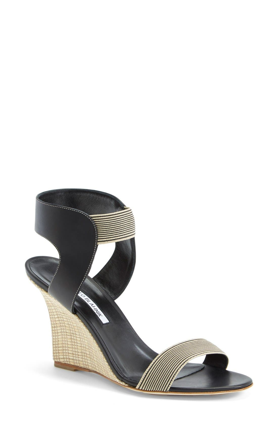 Alternate Image 1 Selected - Manolo Blahnik Ankle Strap Wedge Sandal (Women)
