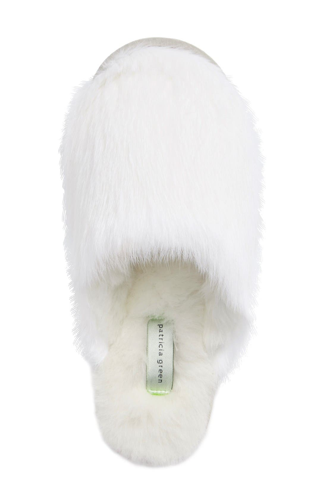 Snow Genuine Rabbit Fur Slipper,                             Alternate thumbnail 3, color,                             White Fur