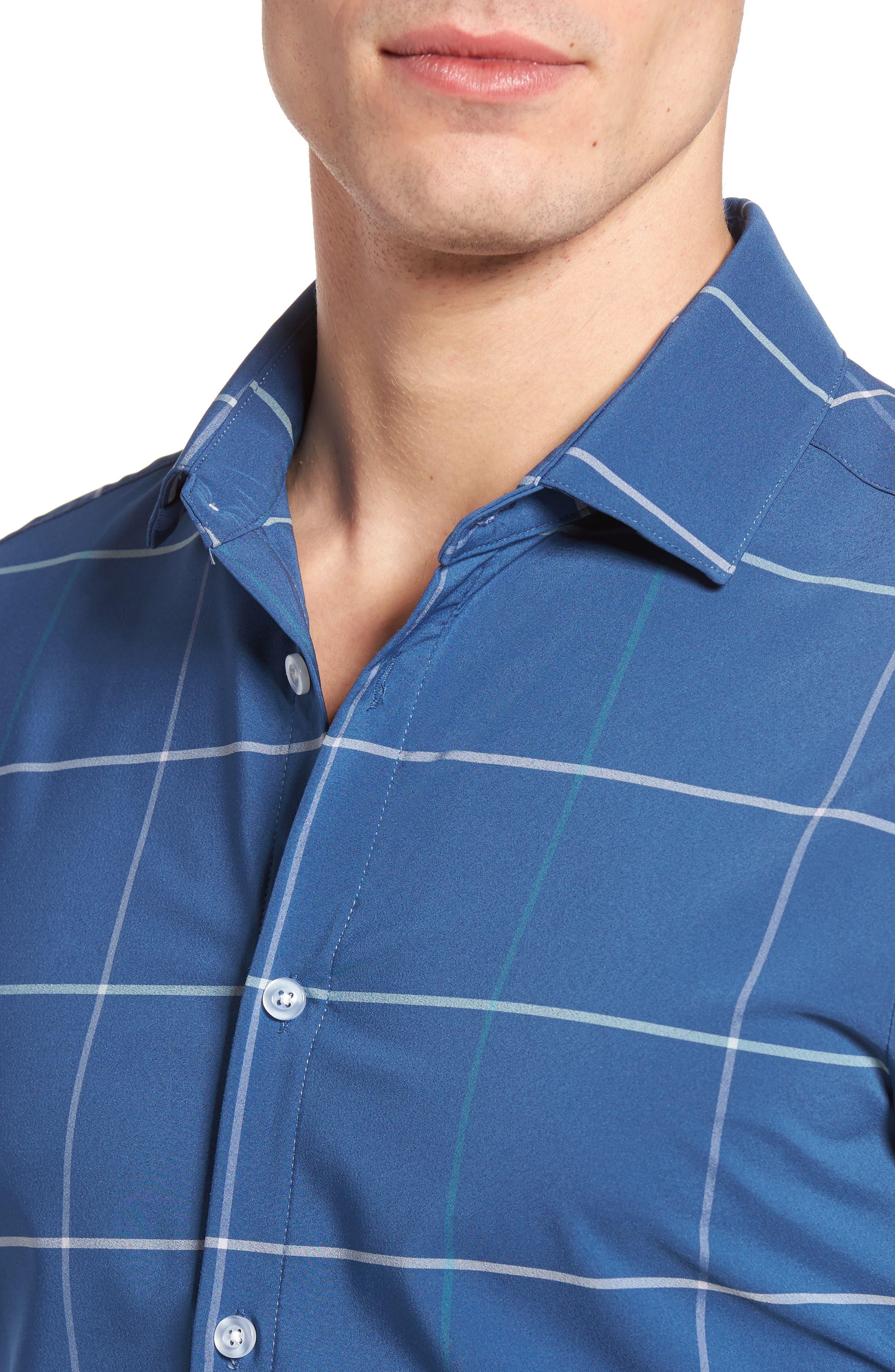 Chesapeake Windowpane Performance Sport Shirt,                             Alternate thumbnail 4, color,                             Navy