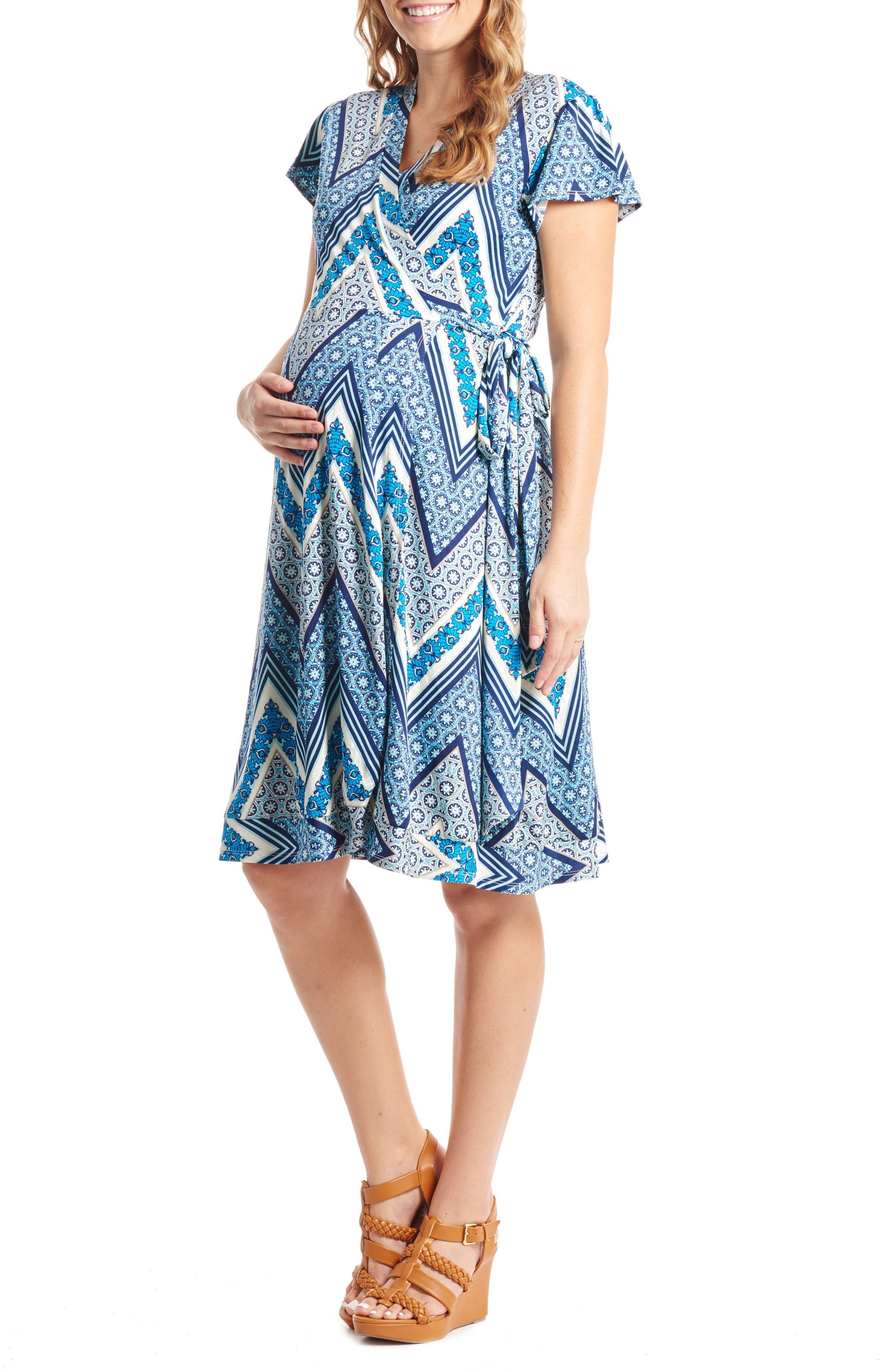'Kathy' Maternity/Nursing Wrap Dress,                             Main thumbnail 1, color,                             Blue Chevron