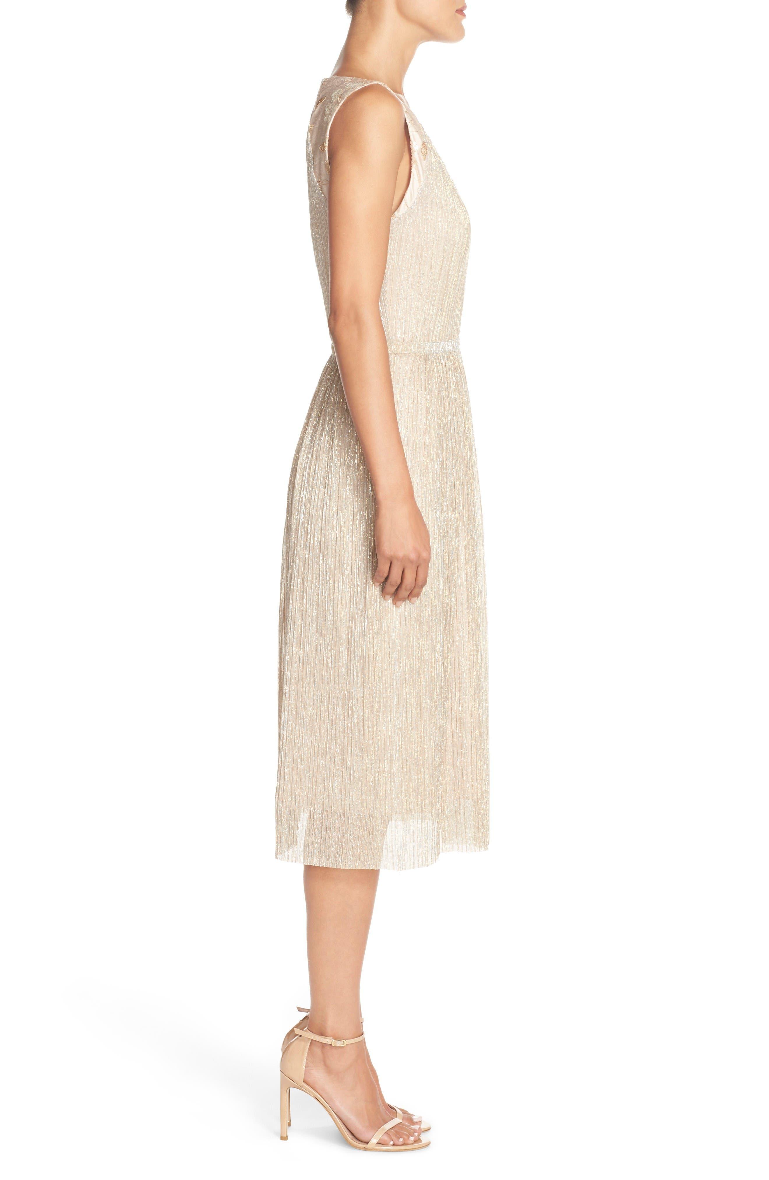 Alternate Image 3  - Tahari Metallic Pleated Midi Dress (Regular & Petite)