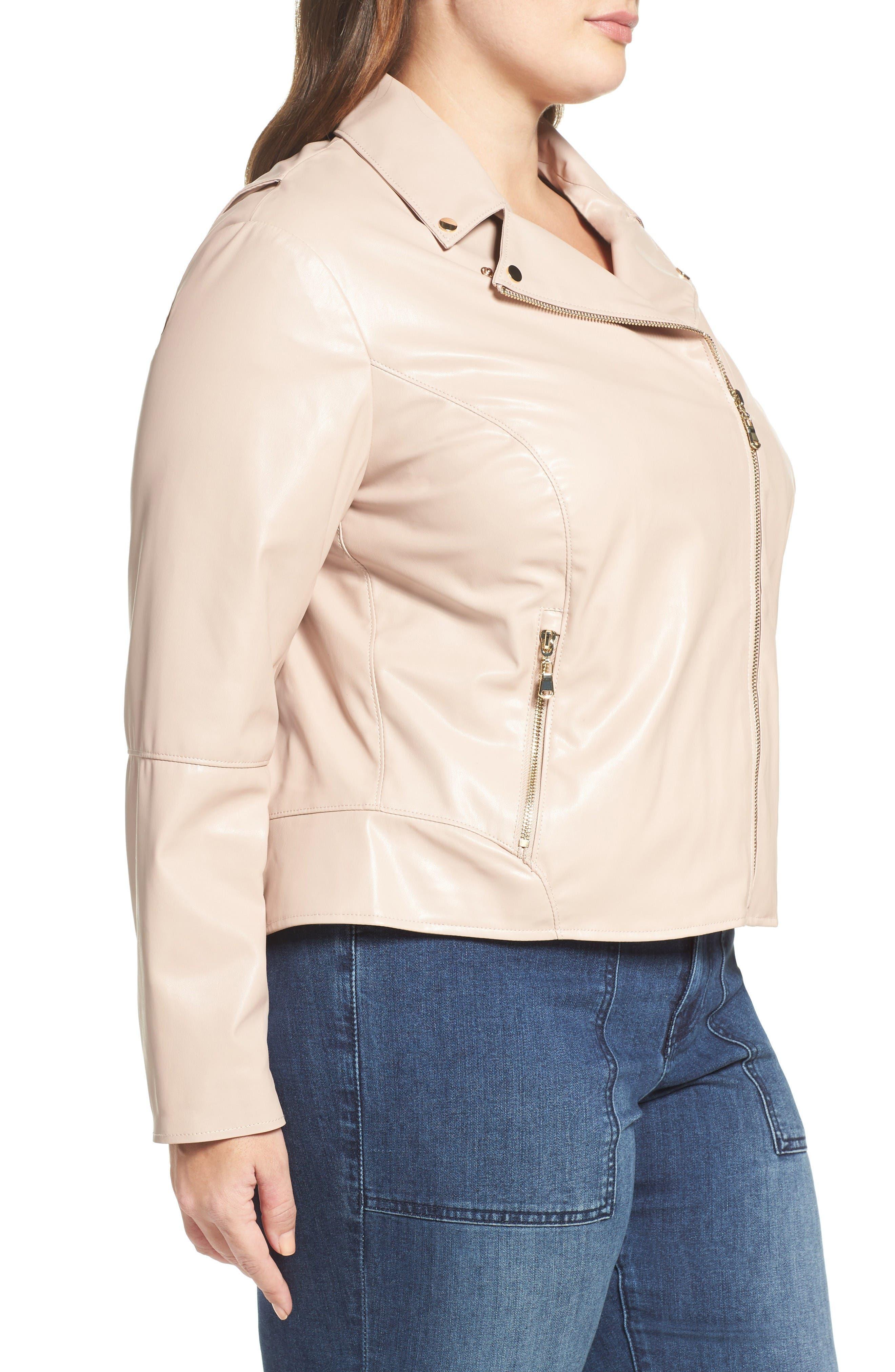 Mollie Faux Leather Jacket,                             Alternate thumbnail 3, color,                             Rose Dust