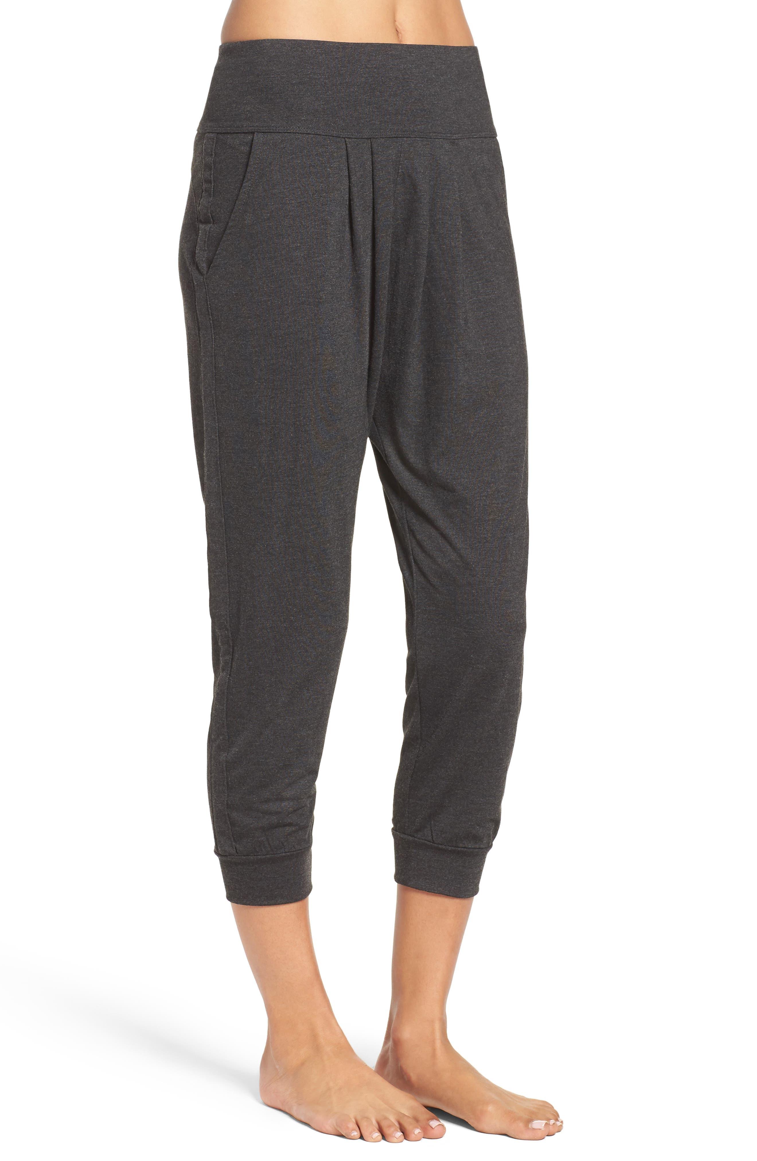 Harmony Crop Harem Pants,                             Alternate thumbnail 3, color,                             Grey Dark Charcoal Heather