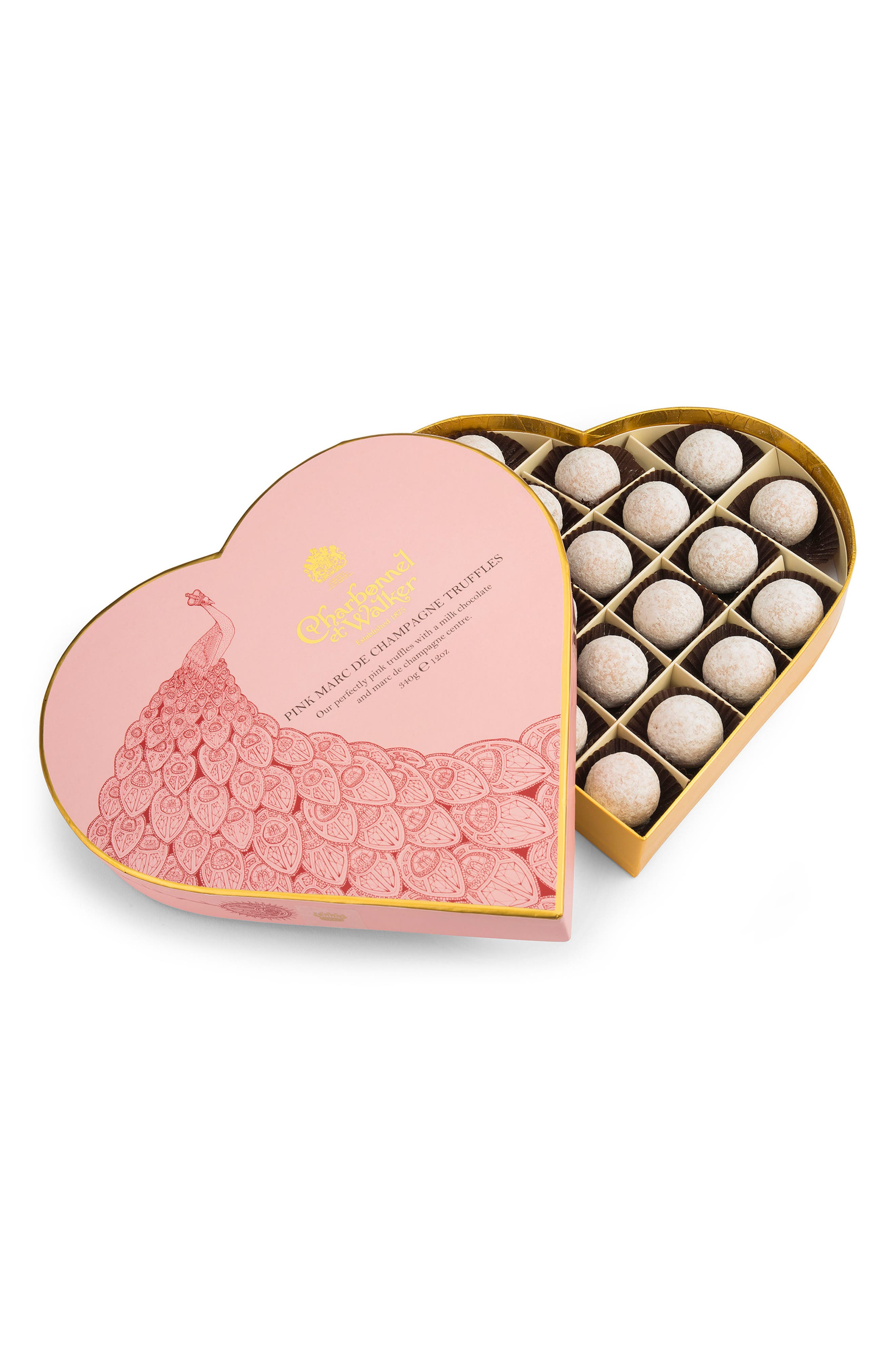 Marc de Champagne Chocolates in Heart Shaped Gift Box,                         Main,                         color, Pink Champagne