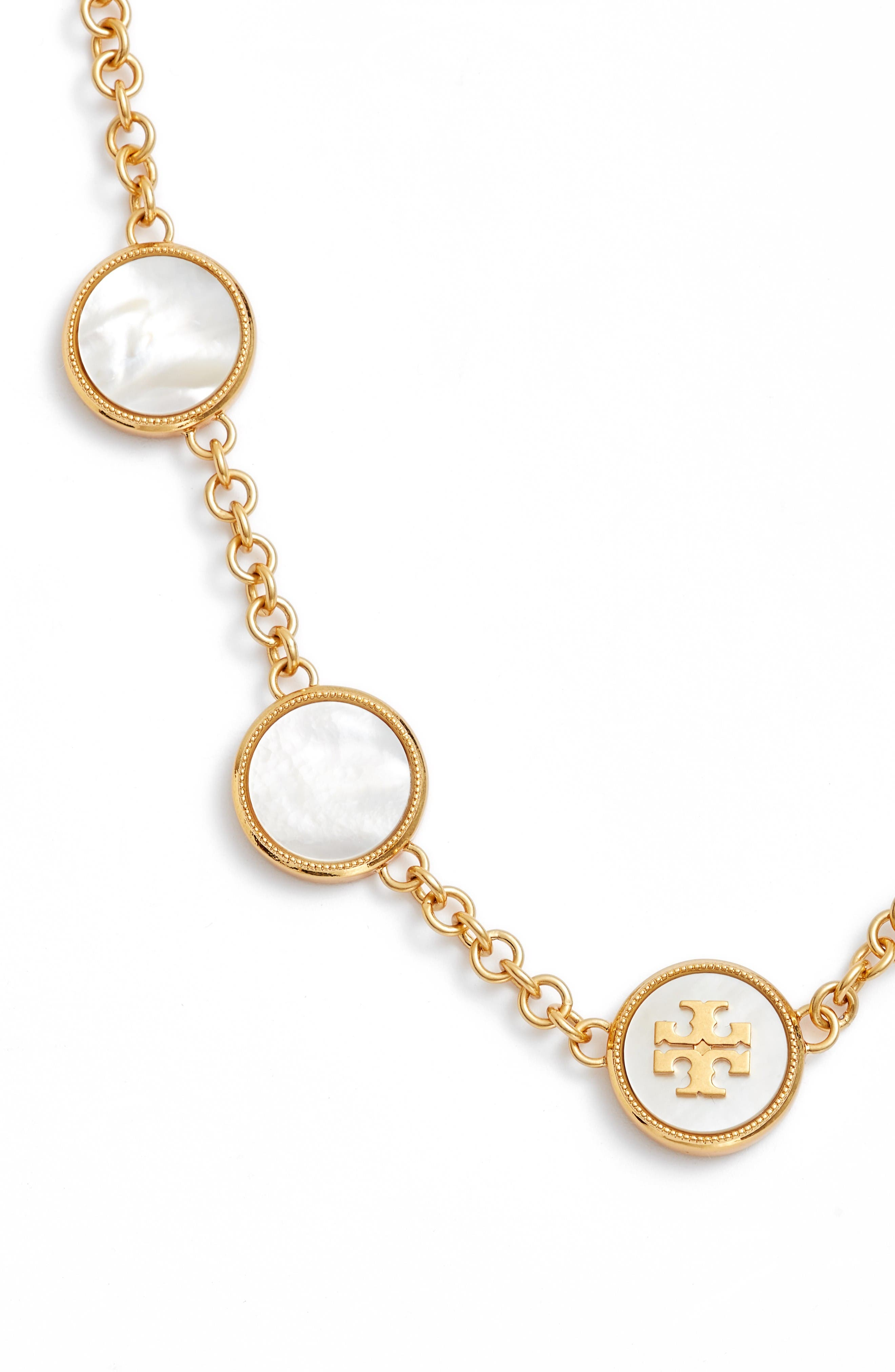 Mother-of-Pearl Station Necklace,                             Alternate thumbnail 2, color,                             Mother Of Pearl / Vintage Gold