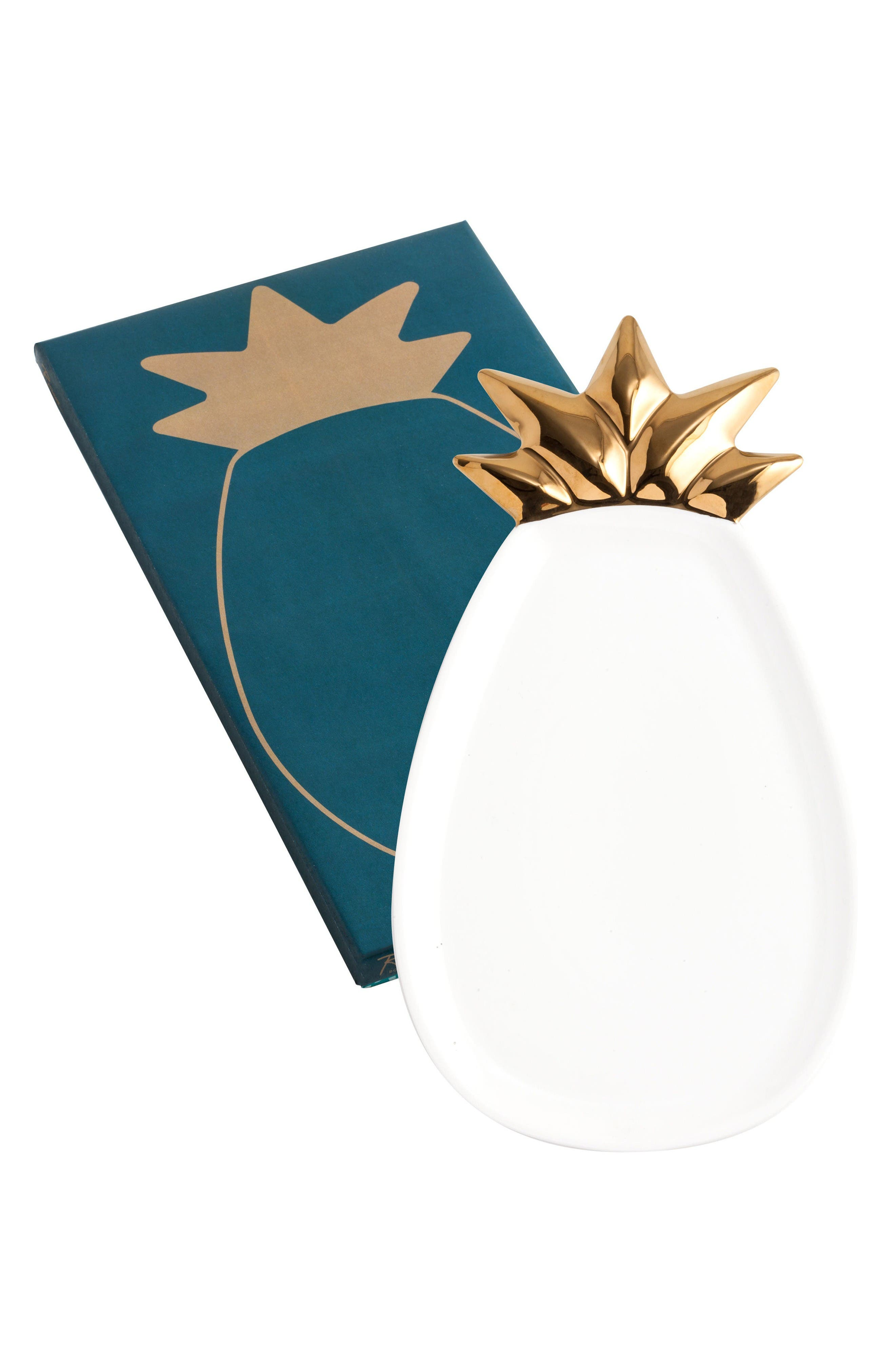 Pineapple Porcelain Serving Tray,                         Main,                         color, White/ Gold