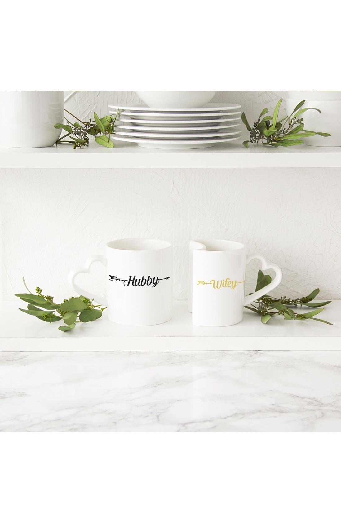 Hubby/Wifey Set of 2 Coffee Mugs,                             Alternate thumbnail 3, color,                             White