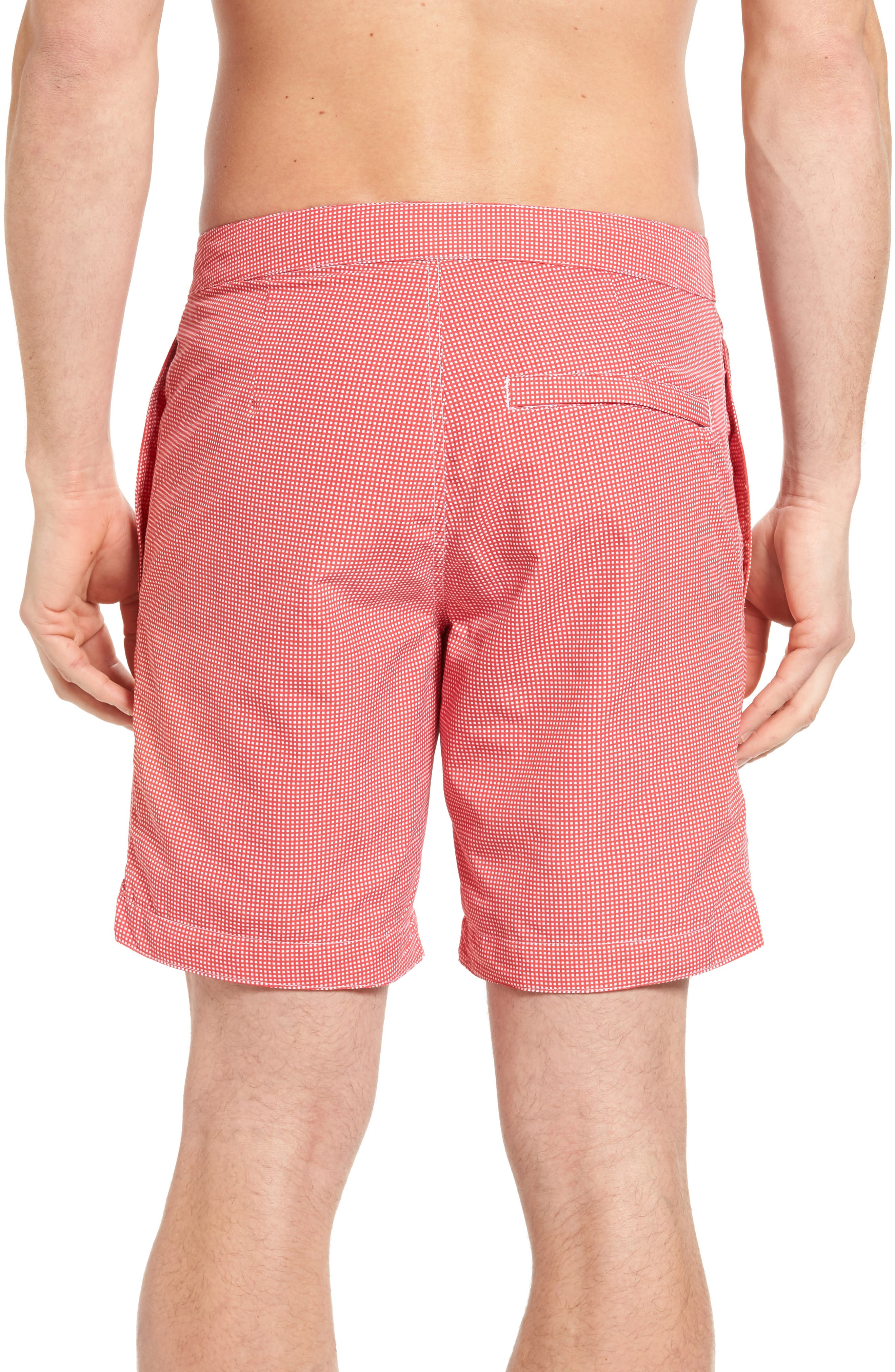 Aruba Microcheck Tailored Fit 8.5 Inch Swim Trunks,                             Alternate thumbnail 2, color,                             Coral