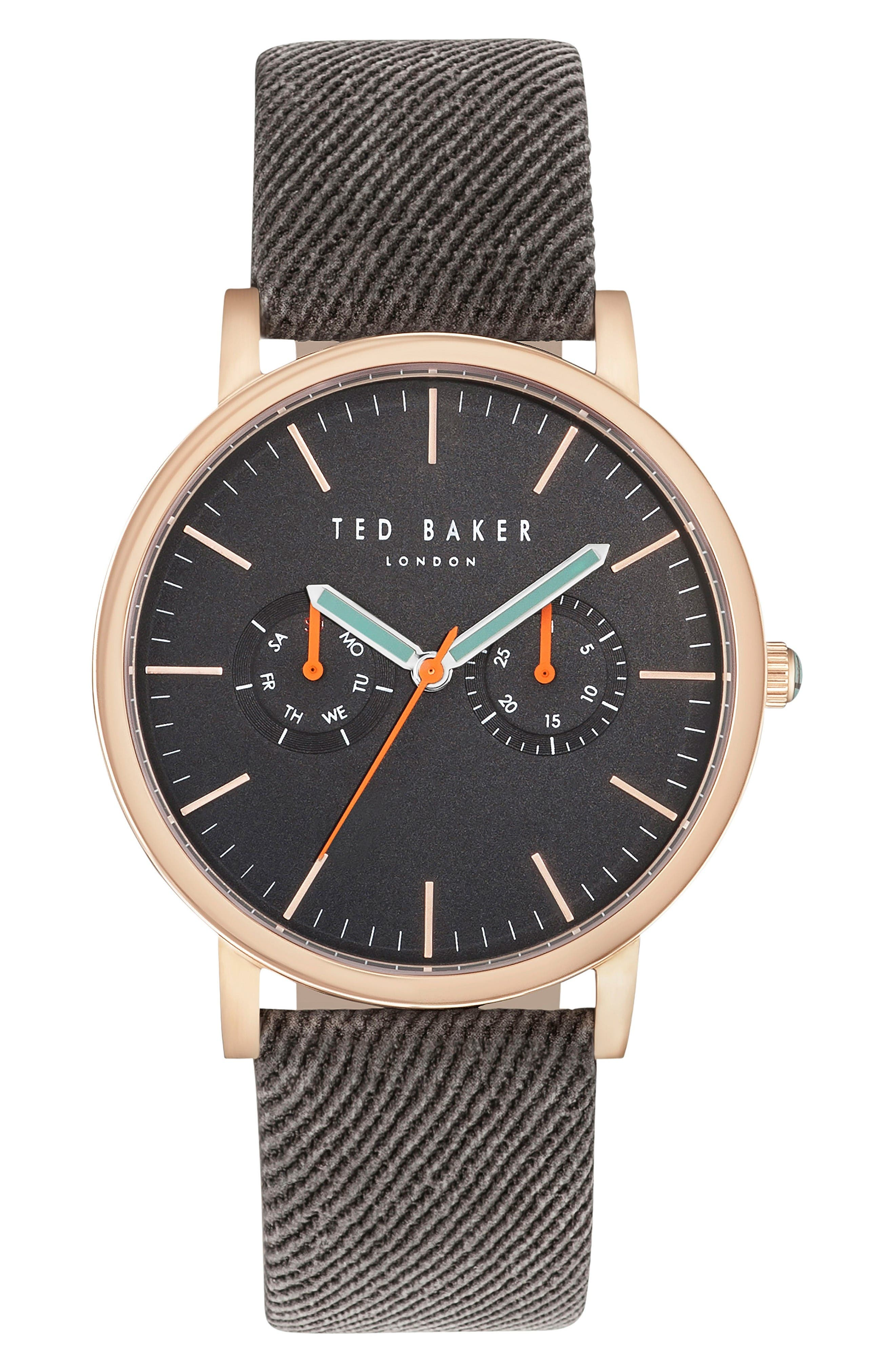 TED BAKER LONDON Brit Multifunction Textured Canvas Strap Watch, 42mm