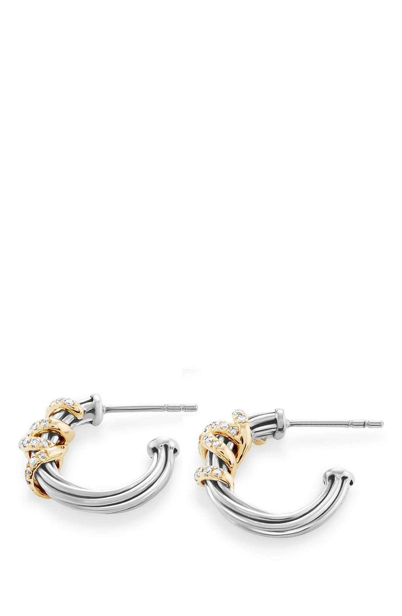 Helena Small Hoop Earrings with Diamonds & 18K Gold,                             Alternate thumbnail 2, color,                             Silver/ Gold