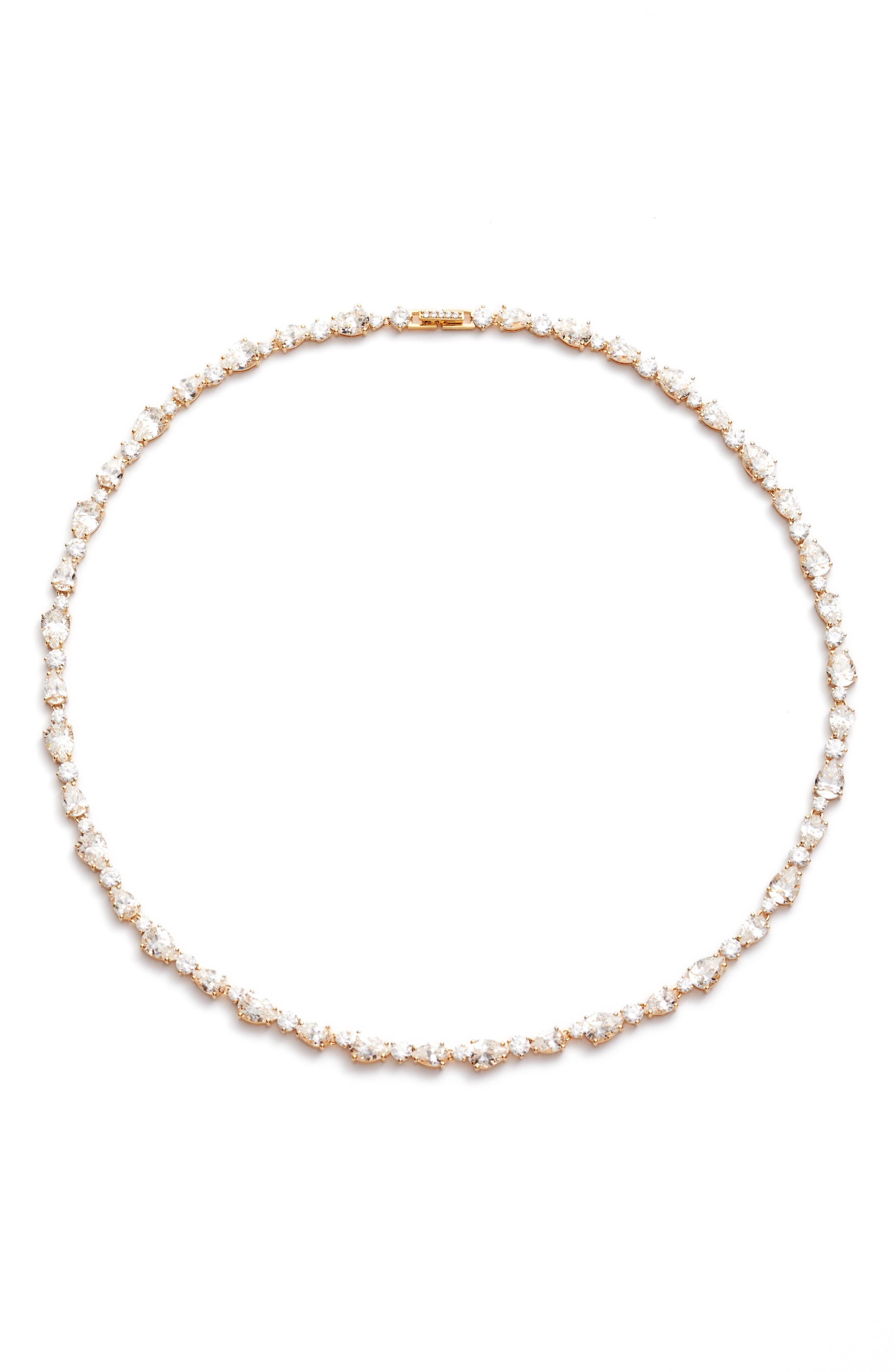 Ava Crystal Collar Necklace,                             Main thumbnail 1, color,                             Gold