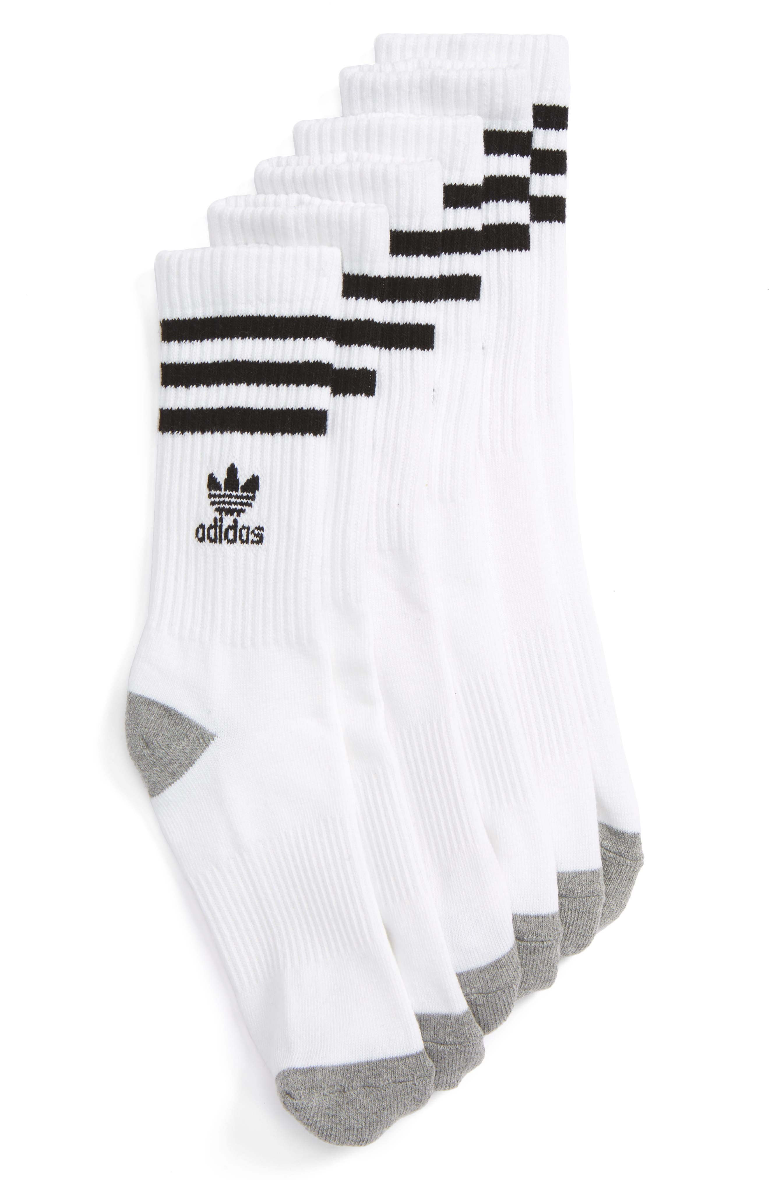 3-Pack Original Cushioned Crew Socks,                             Main thumbnail 1, color,                             White/ Black/ White
