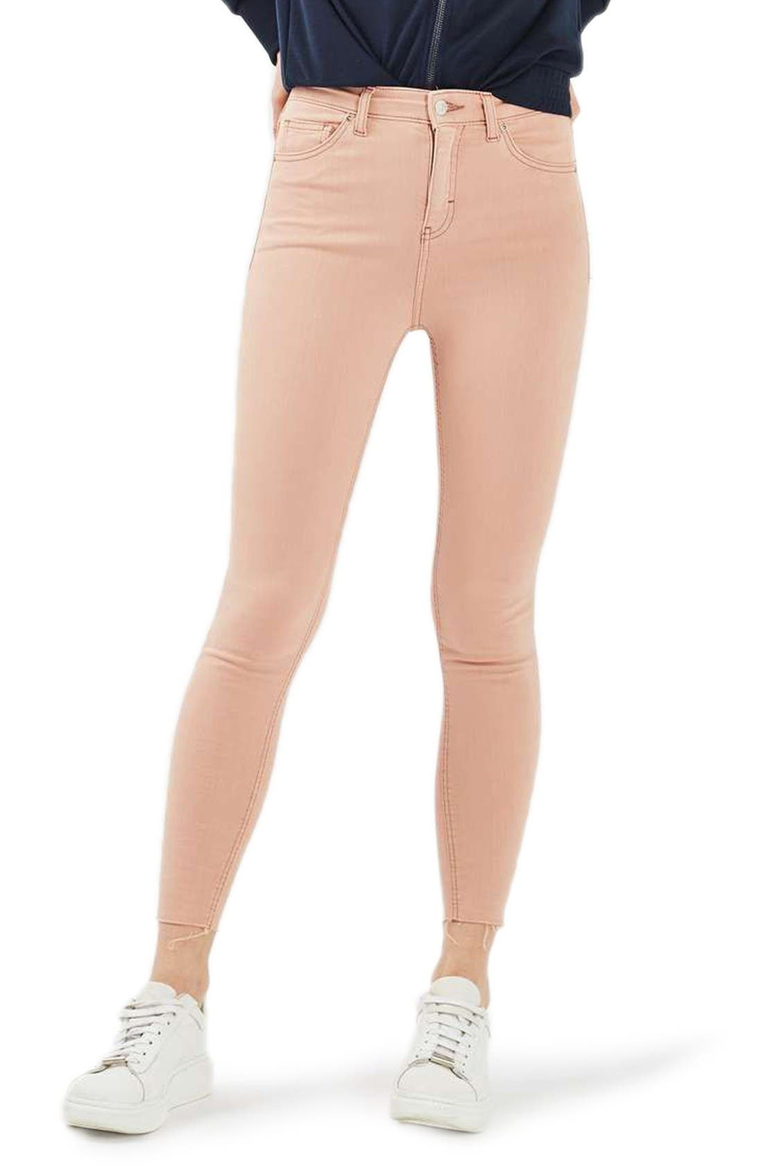 Main Image - Topshop Jamie Raw Hem Skinny Jeans (Dusky Pink)