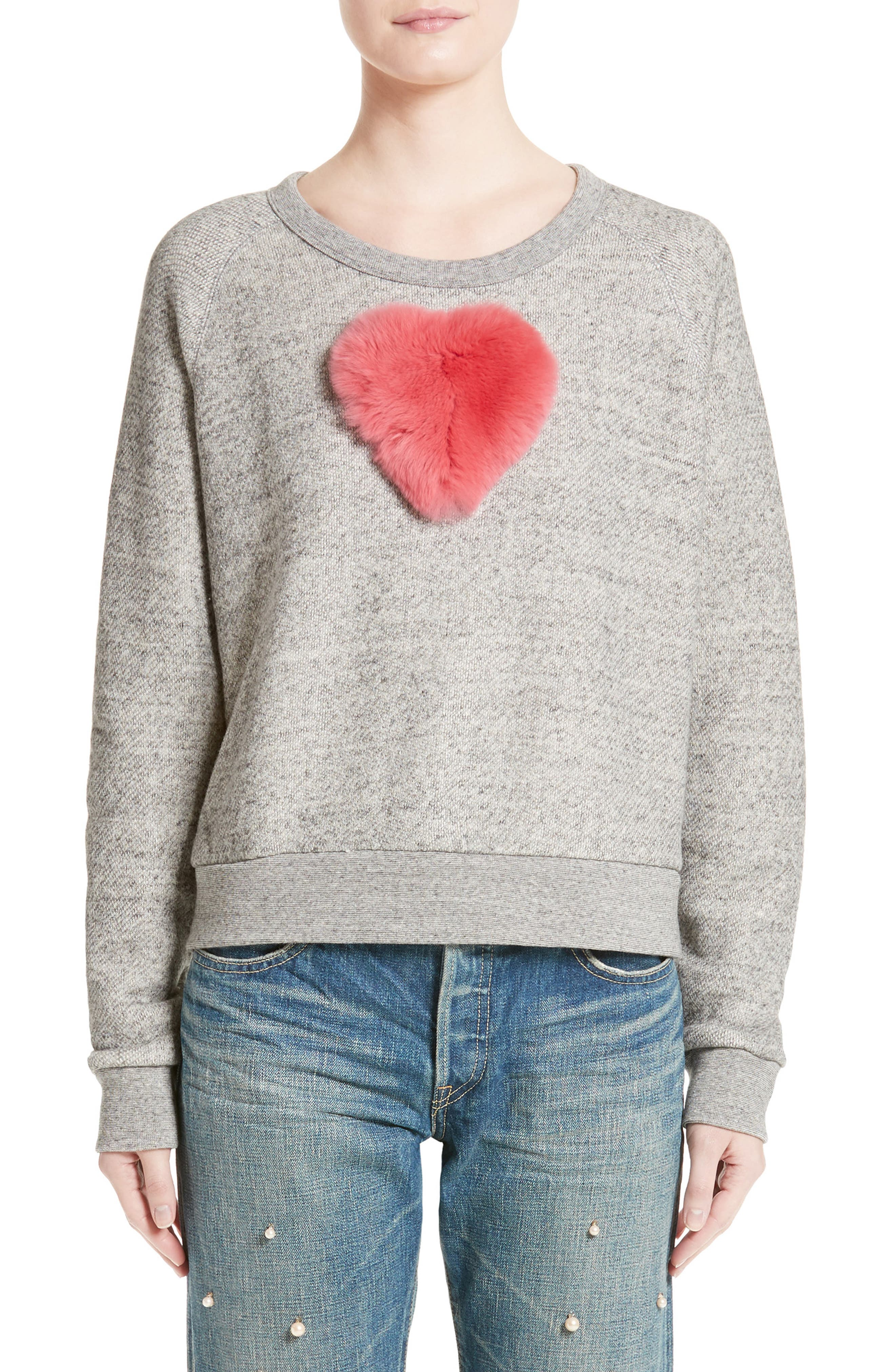 One Heart Pullover,                             Main thumbnail 1, color,                             Charcoal/Red